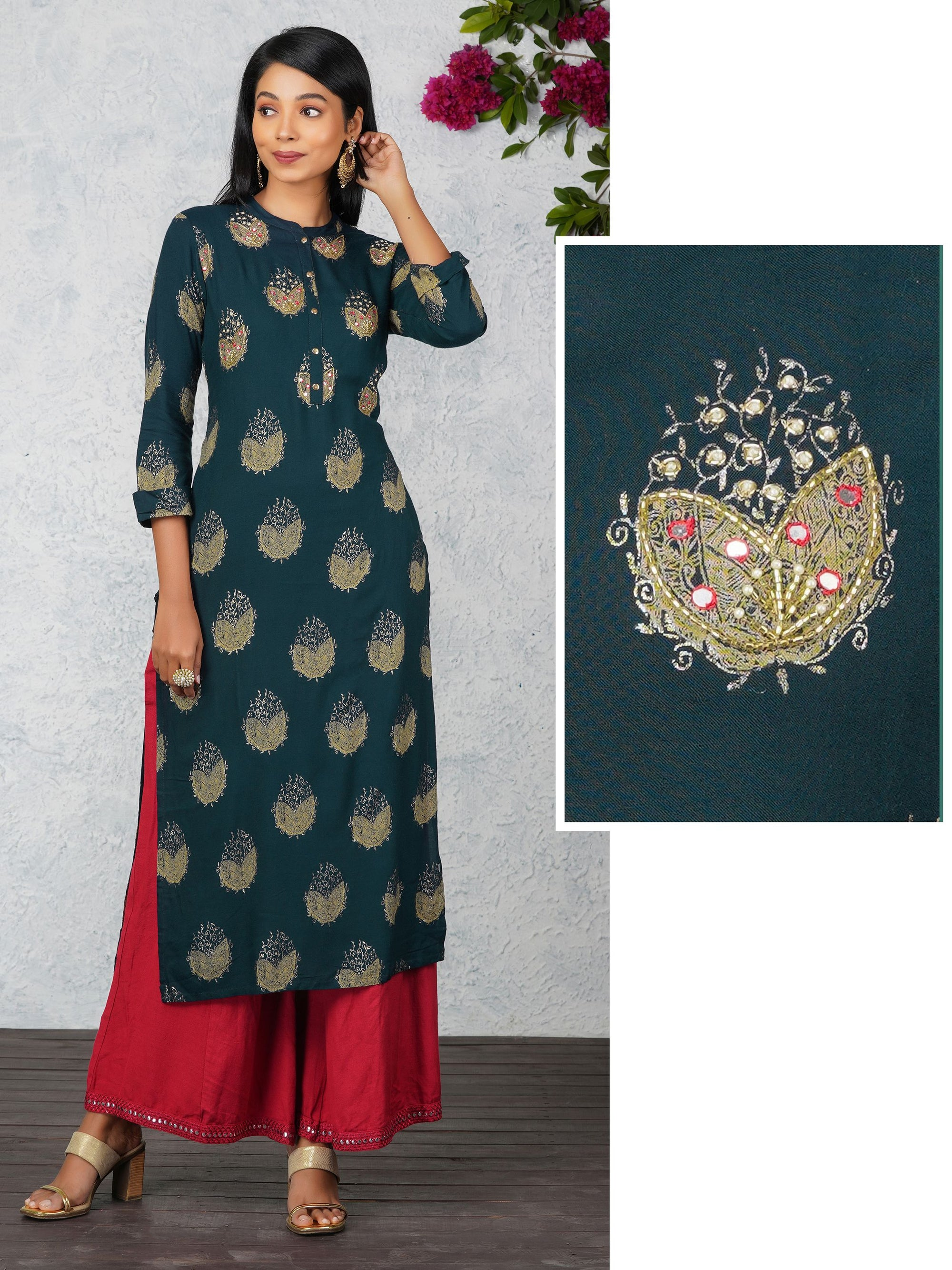 Cutdana, Mirror Work With Pearl Work Green Kurta