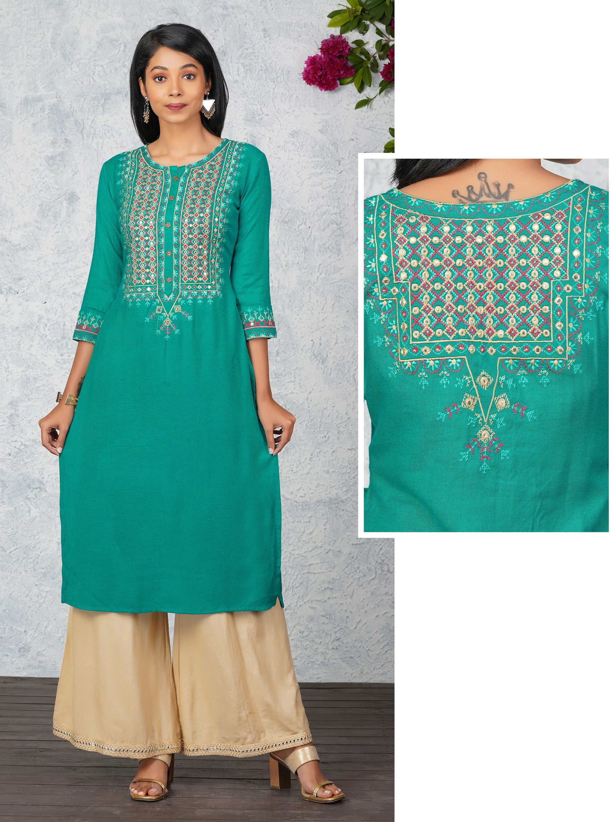 Embroidered With Foil Mirror Work Kurta