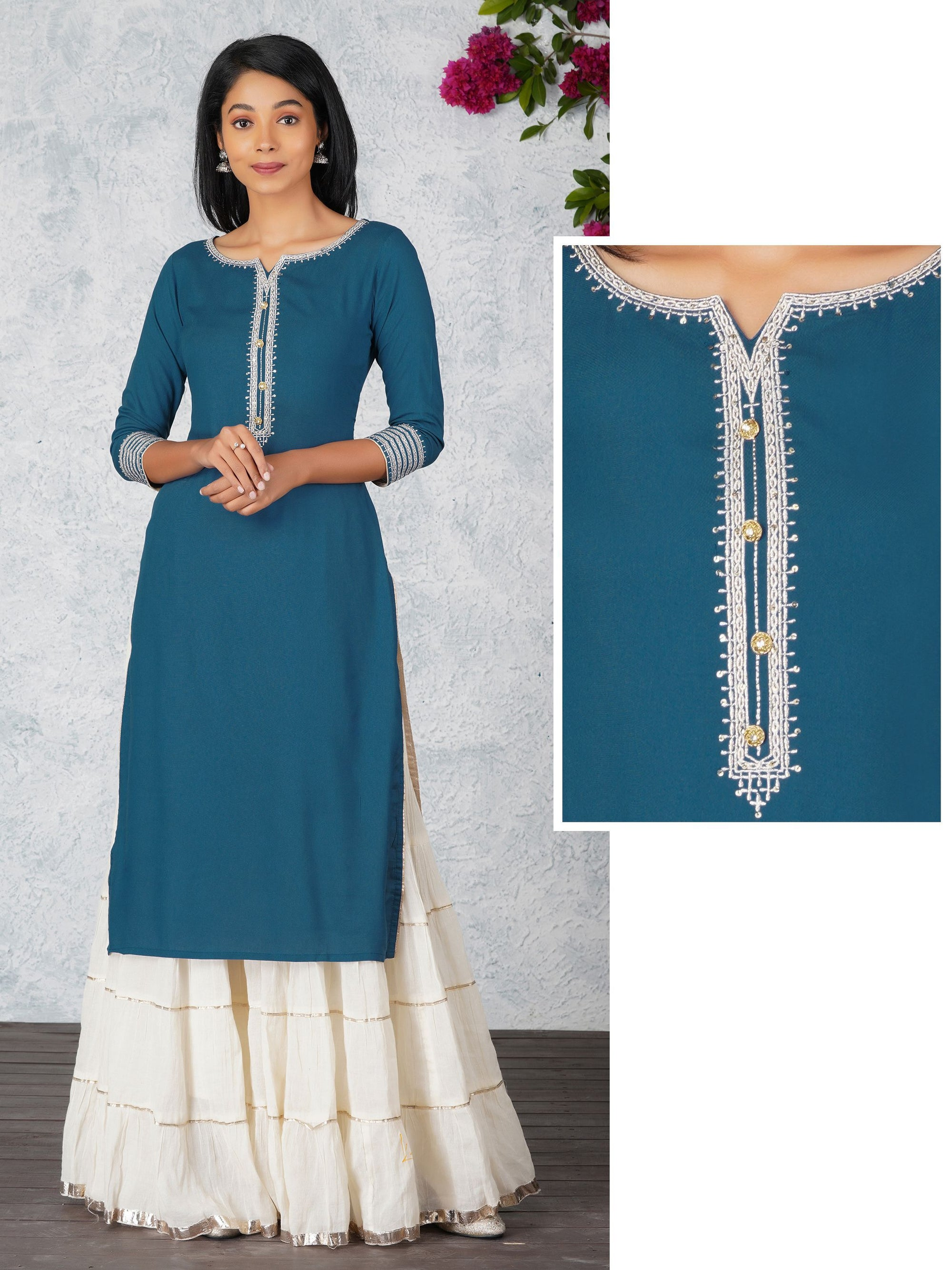 Silver Zari Embroidery And Sequin Kurta