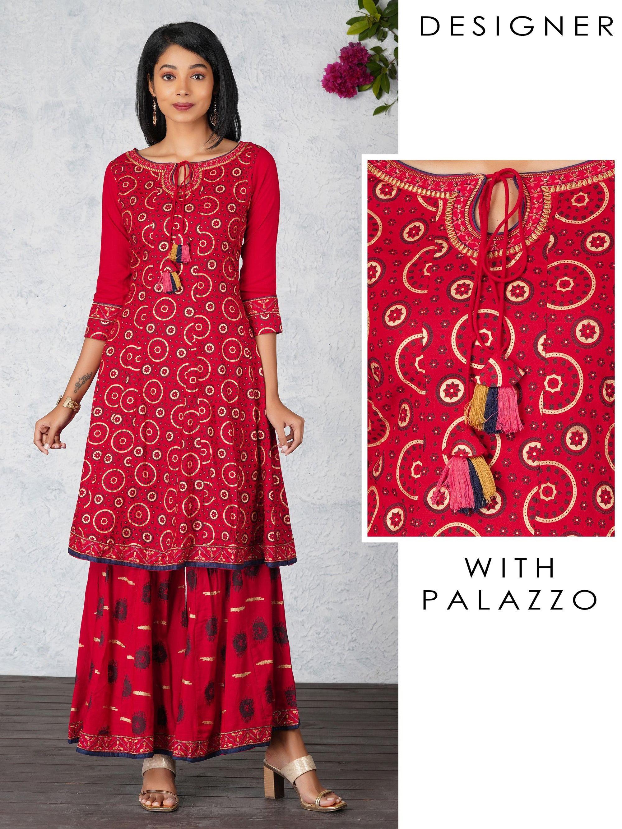 Khari Geometric Floral Printed Kurta And Flared Palazzo Set - Red