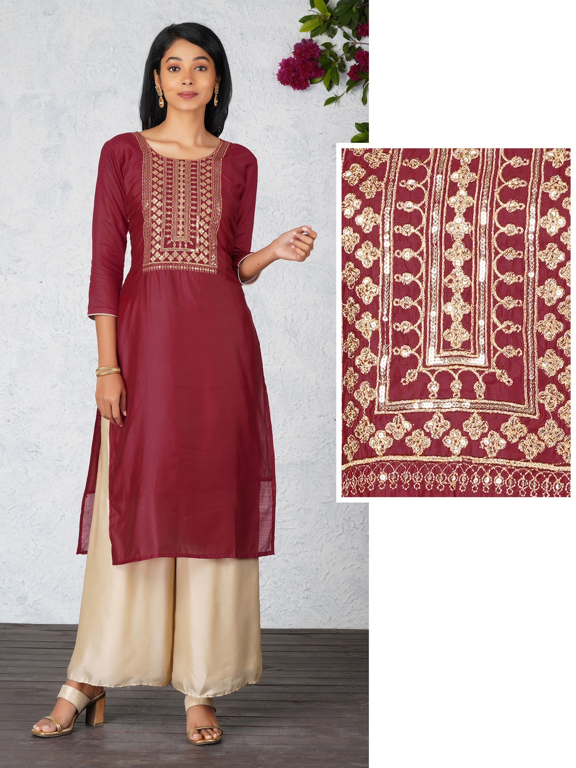 Zari Embroidered Chanderi Kurti