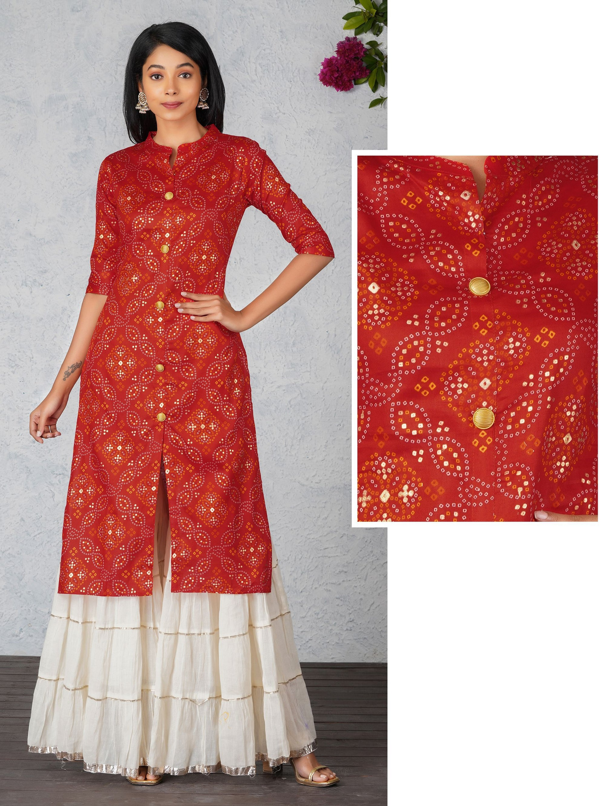 Bandhani Print With Gold Highlighted Kurta - Red