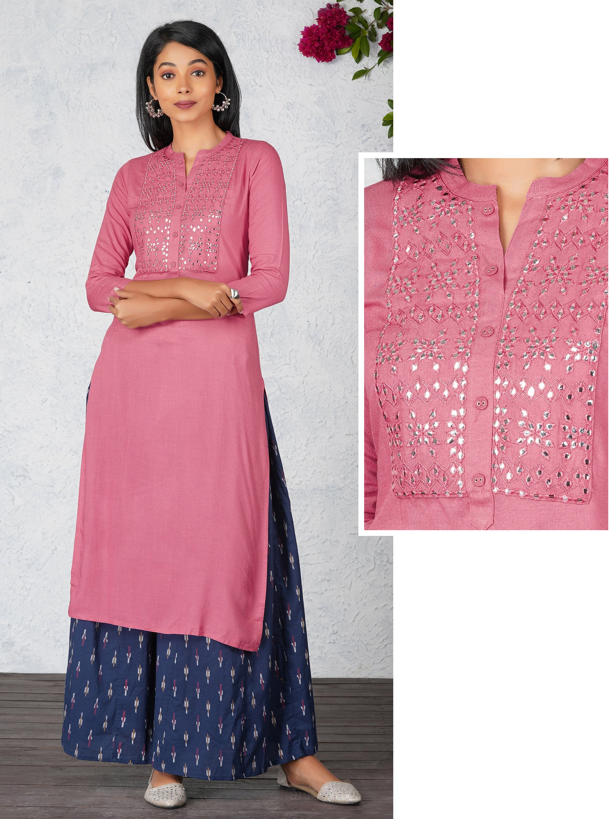 Foil Mirror Worked Cotton Kurti