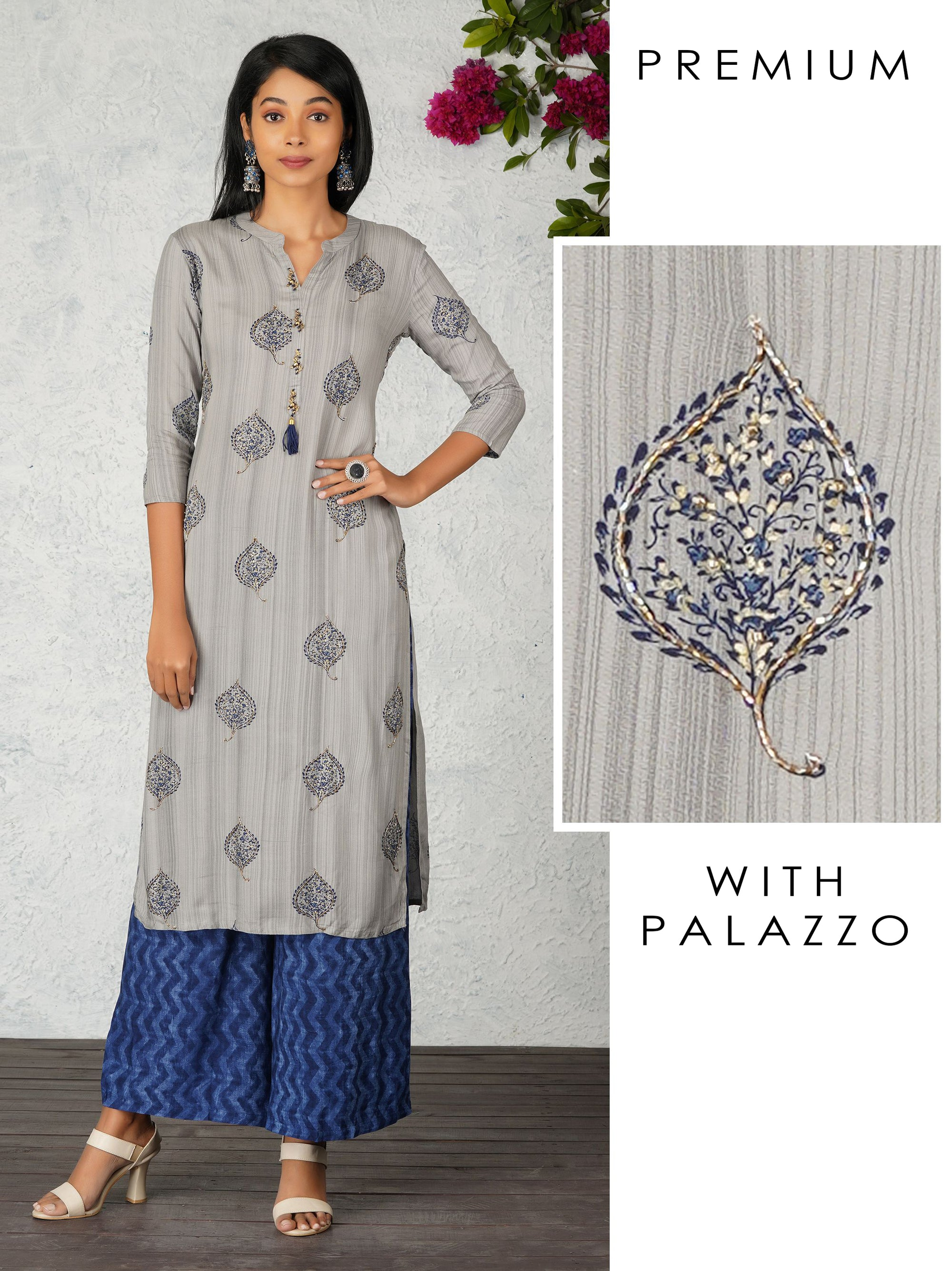 Paisley Print With Cutdana Work Kurta And Chevron Print Palazzo