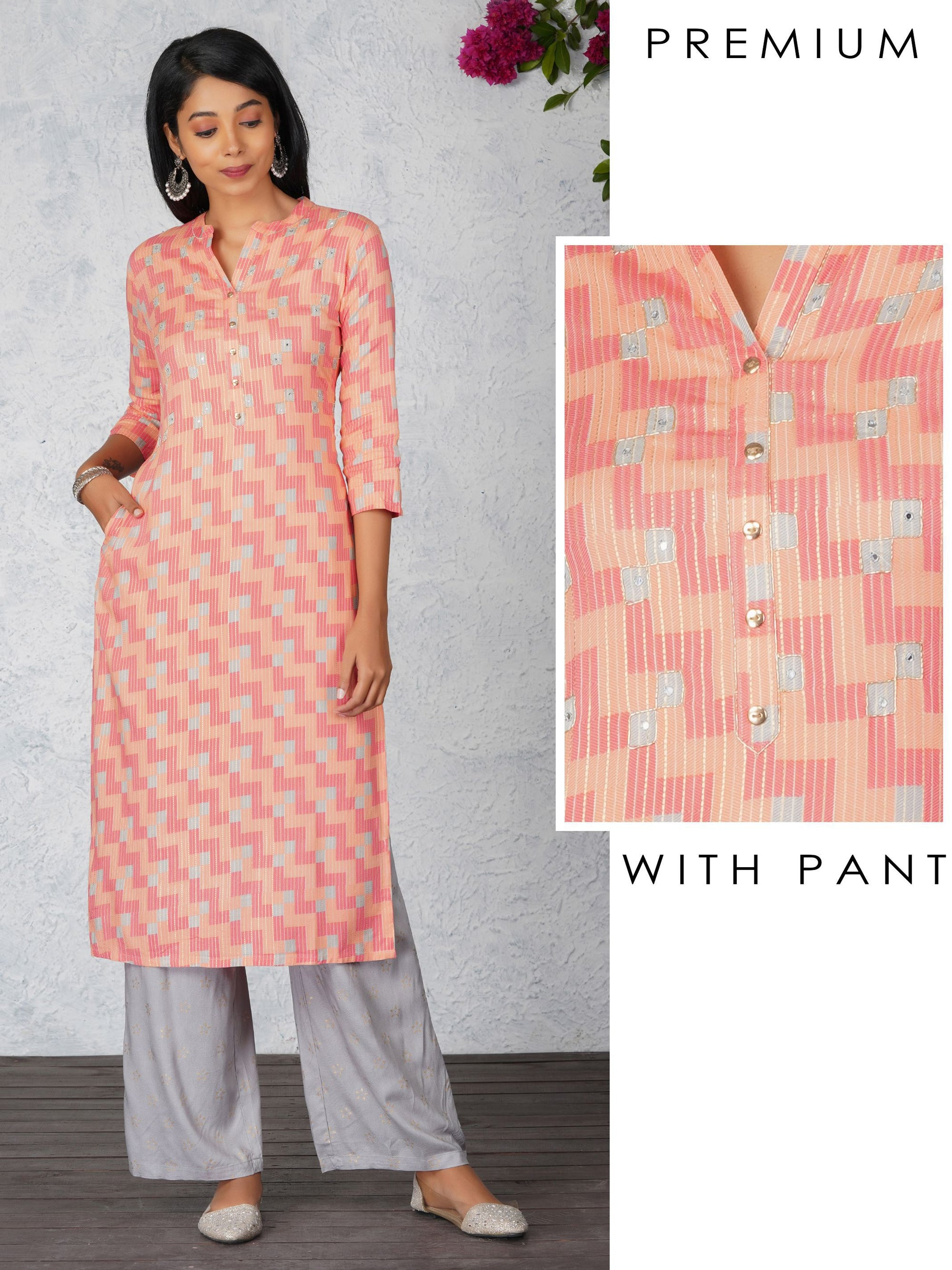 Khari Print Foil Mirror Work Kurta And Gold Khari Pant Set - Pink And Grey