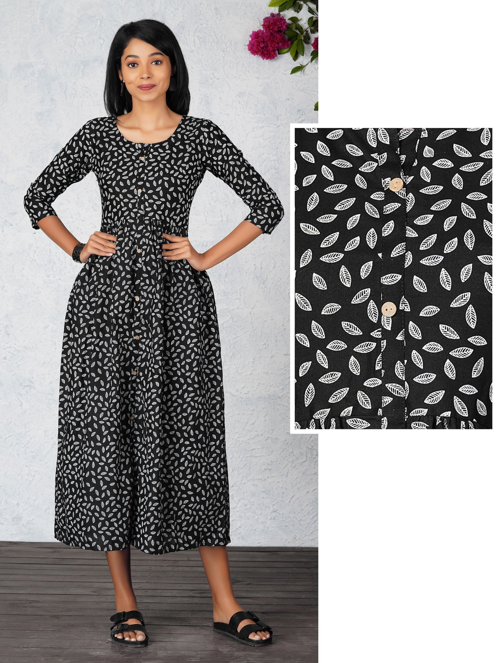 Leaf Printed Cotton Maxi