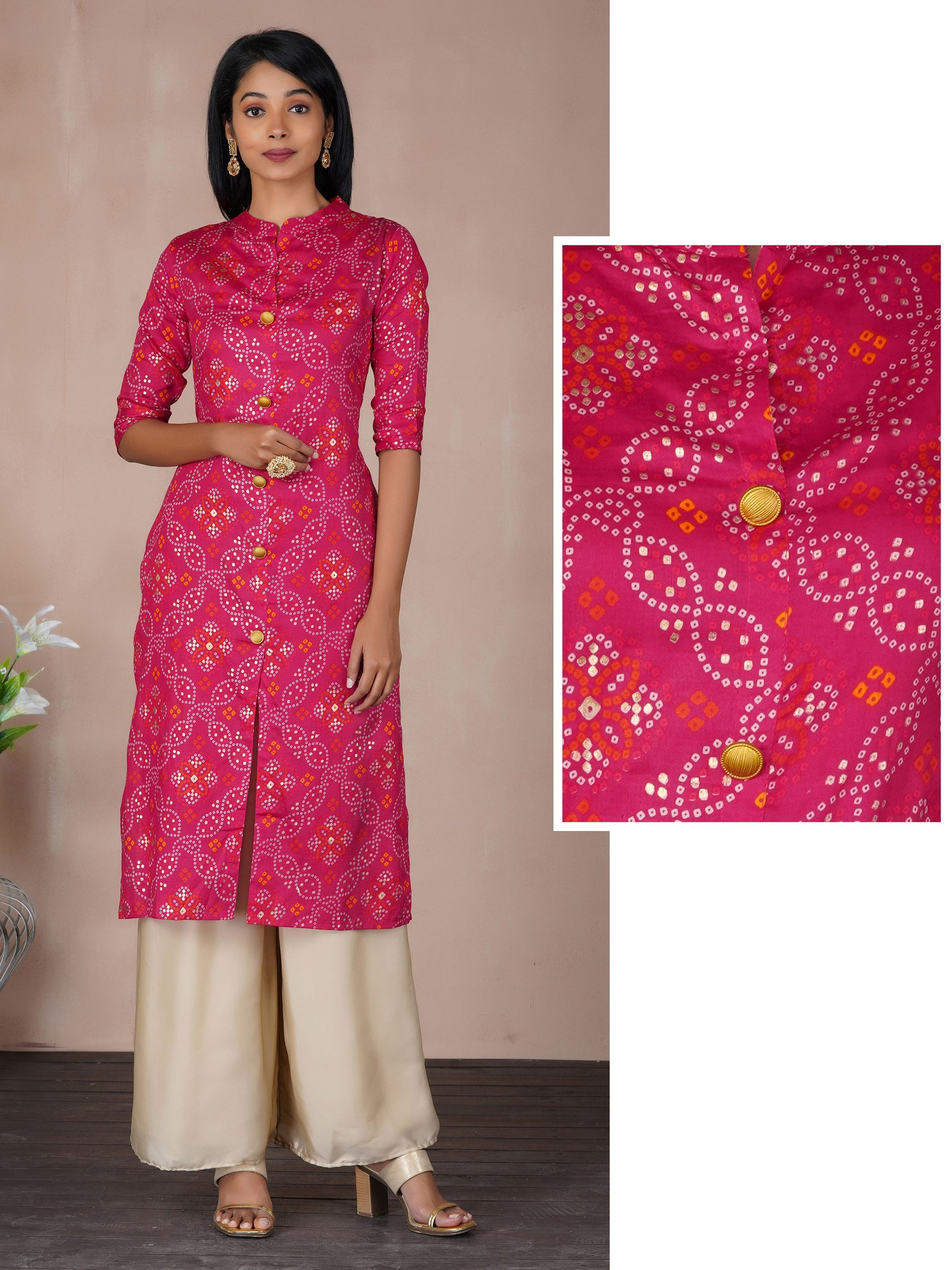 Bandhani Print With Gold Highlighted Kurta - Rani Pink