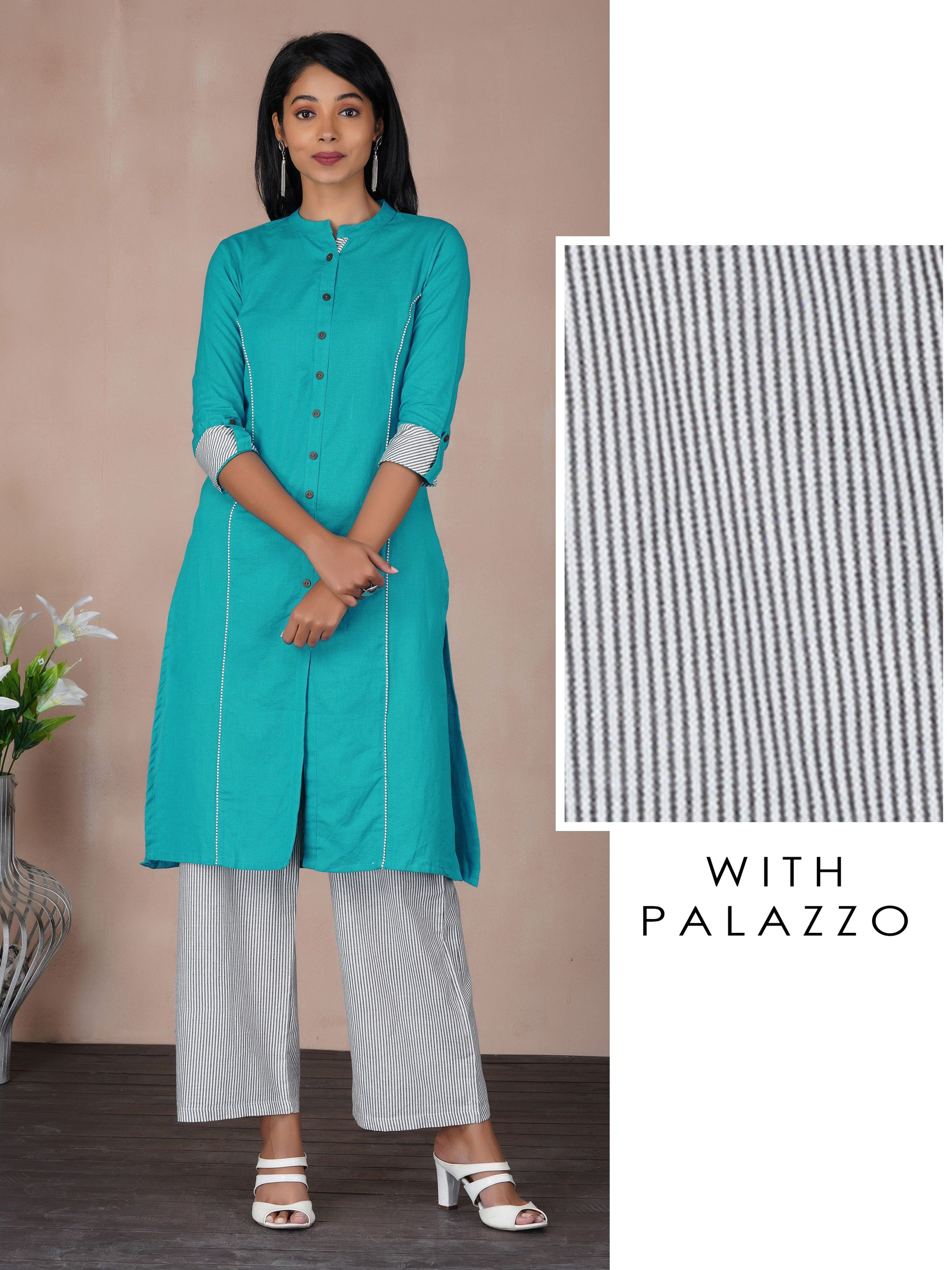 Solid Princess Cut Kurti & Bengal Striped Palazzo Set - Azure Blue