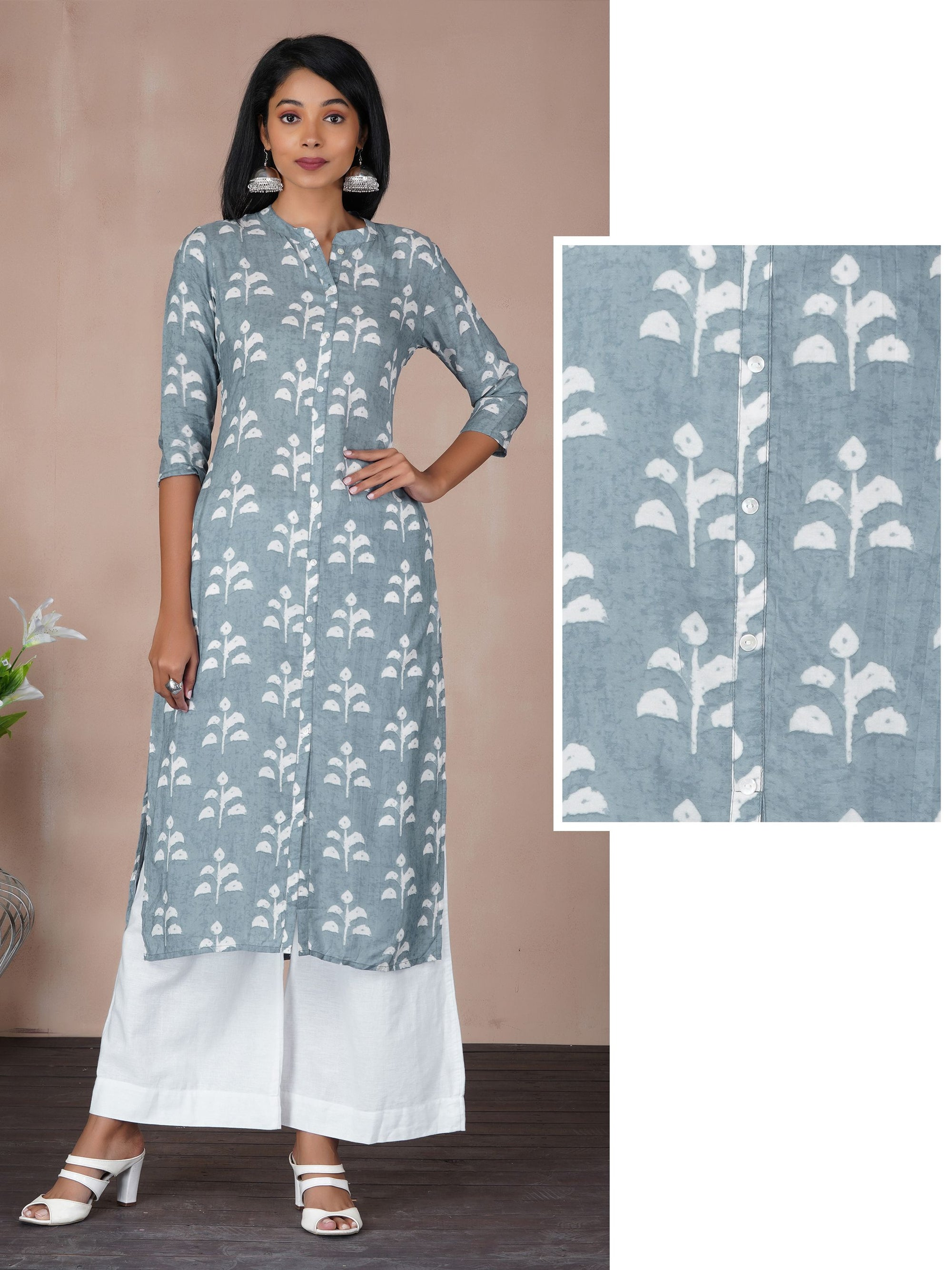 Beautiful Leaf Printed Kurta - Dusty Blue