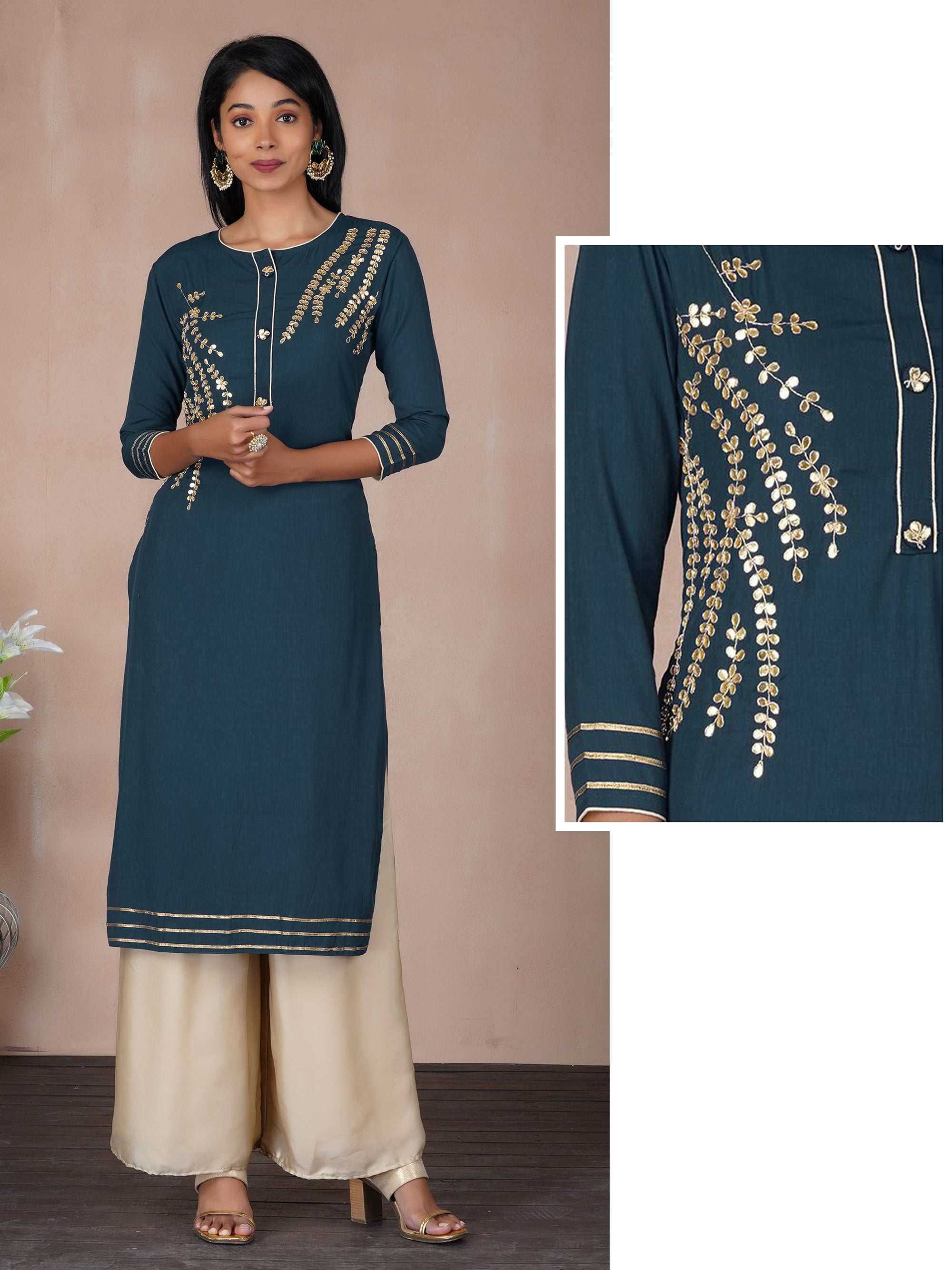 Gota Work Kurta With Gota Detailing Buttons on Placket