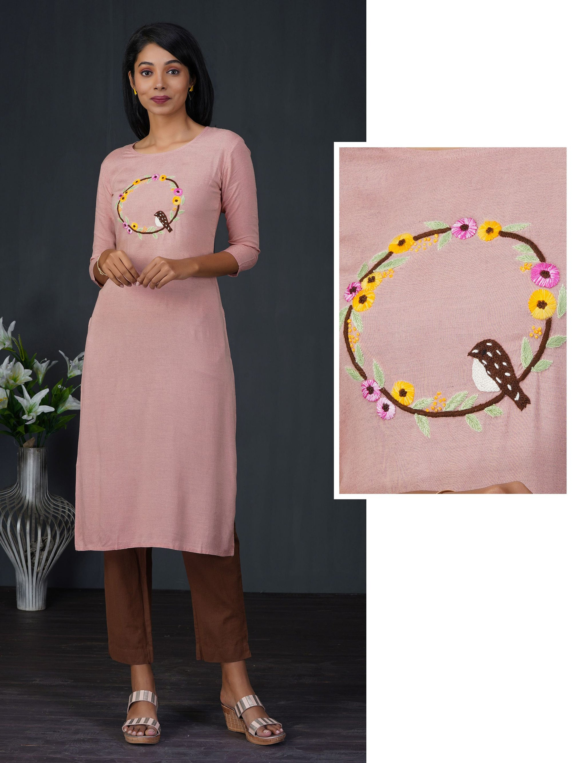 Bird Nest Embroidered Doube Shade Kurta