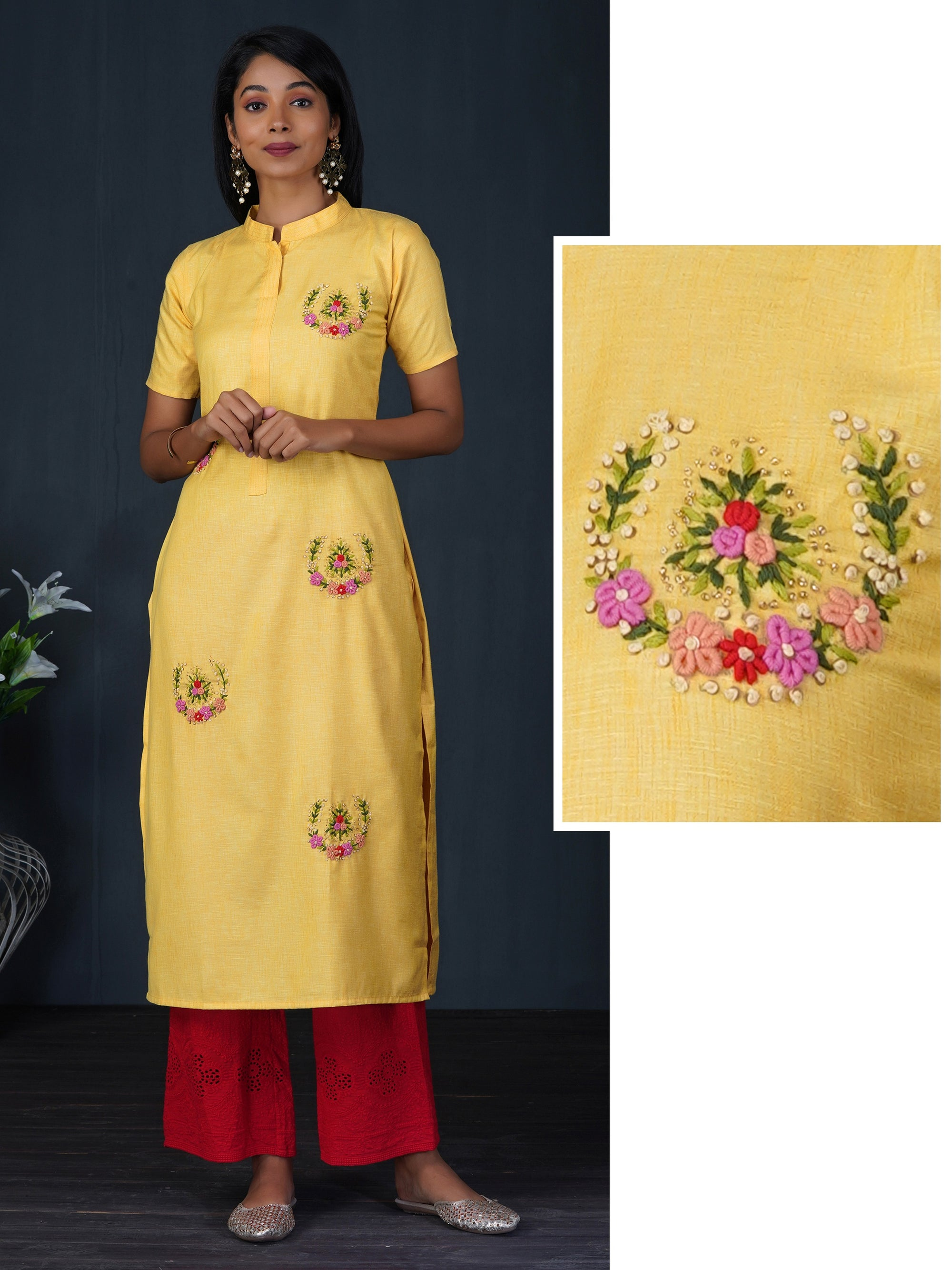 Bullion Knot & Sequins Embellished Cotton Kurti