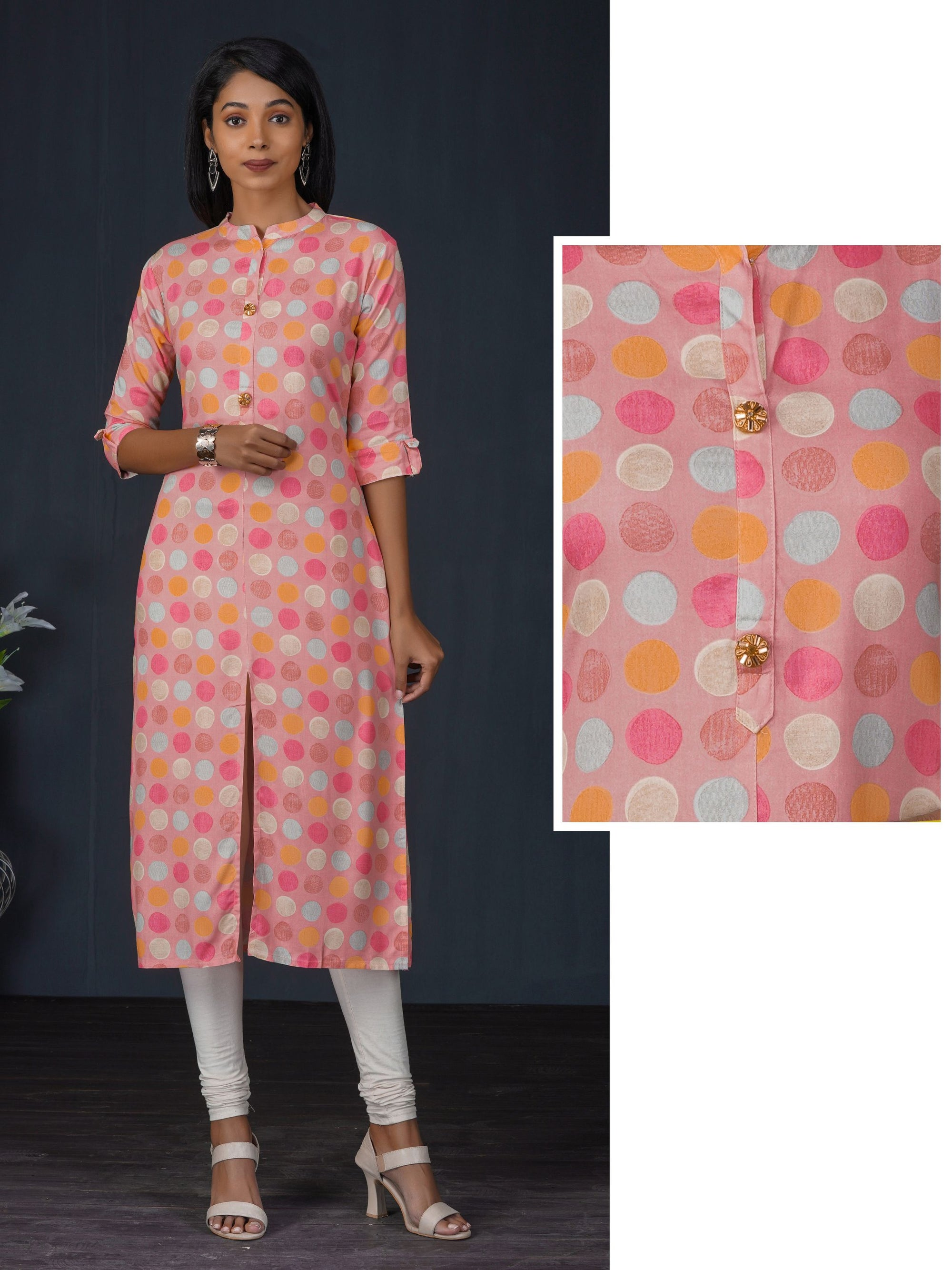 Candy Printed Kurta With Floral Embellished Buttons
