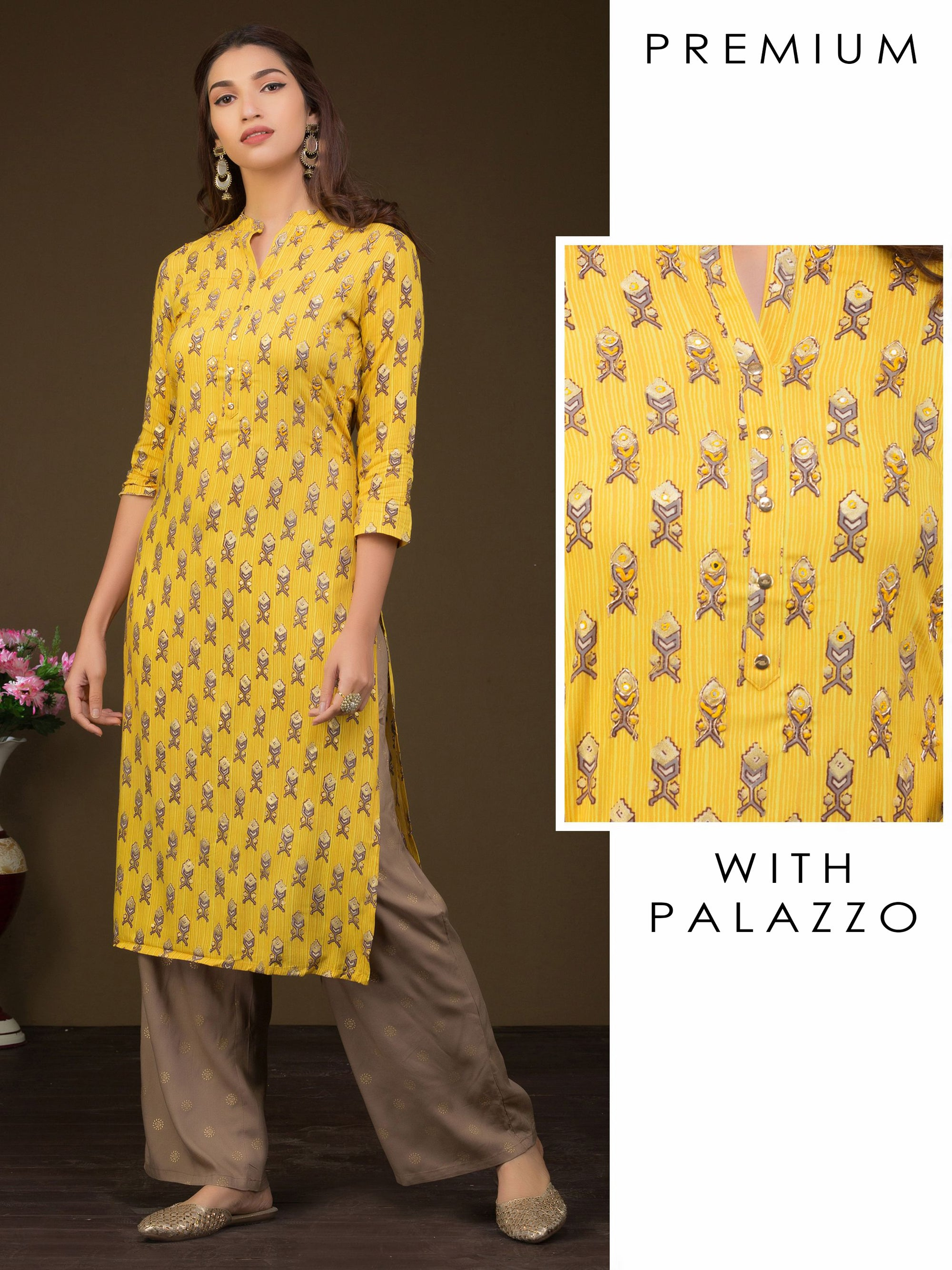 Printed Khari Gold Highlighted, Zardosi Work With Mirror Work Kurta And Palazzo Set - Yellow With Grey