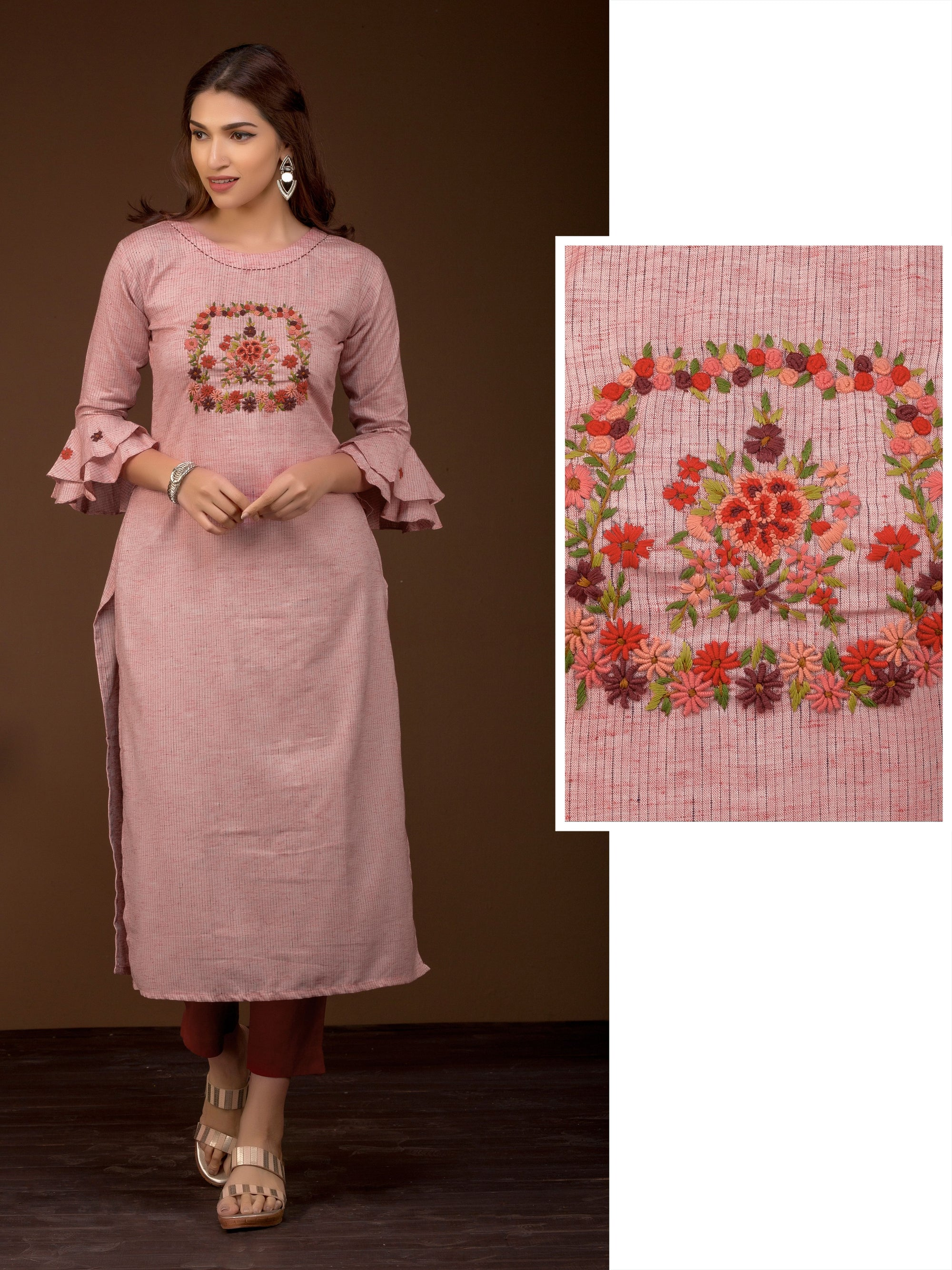 French Knot Floral Embroidered Kurti - Peach