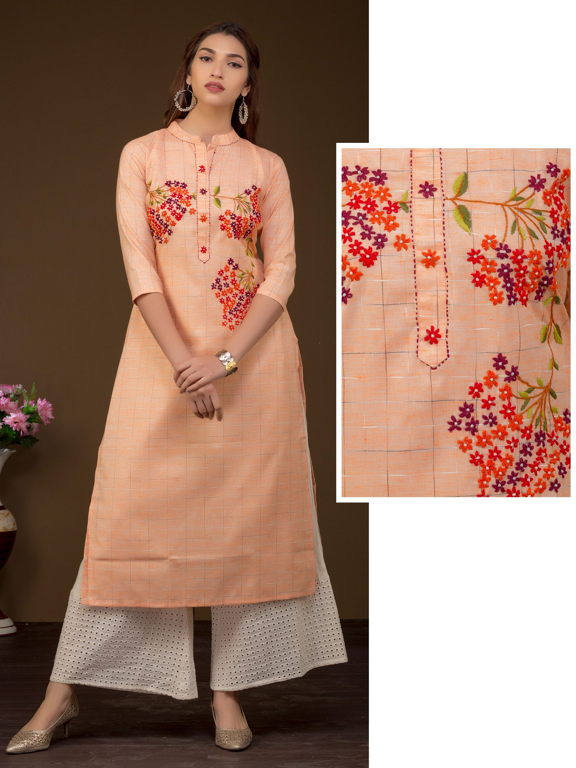 Bead Work & Floral Embroidered Dual Toned Kurti