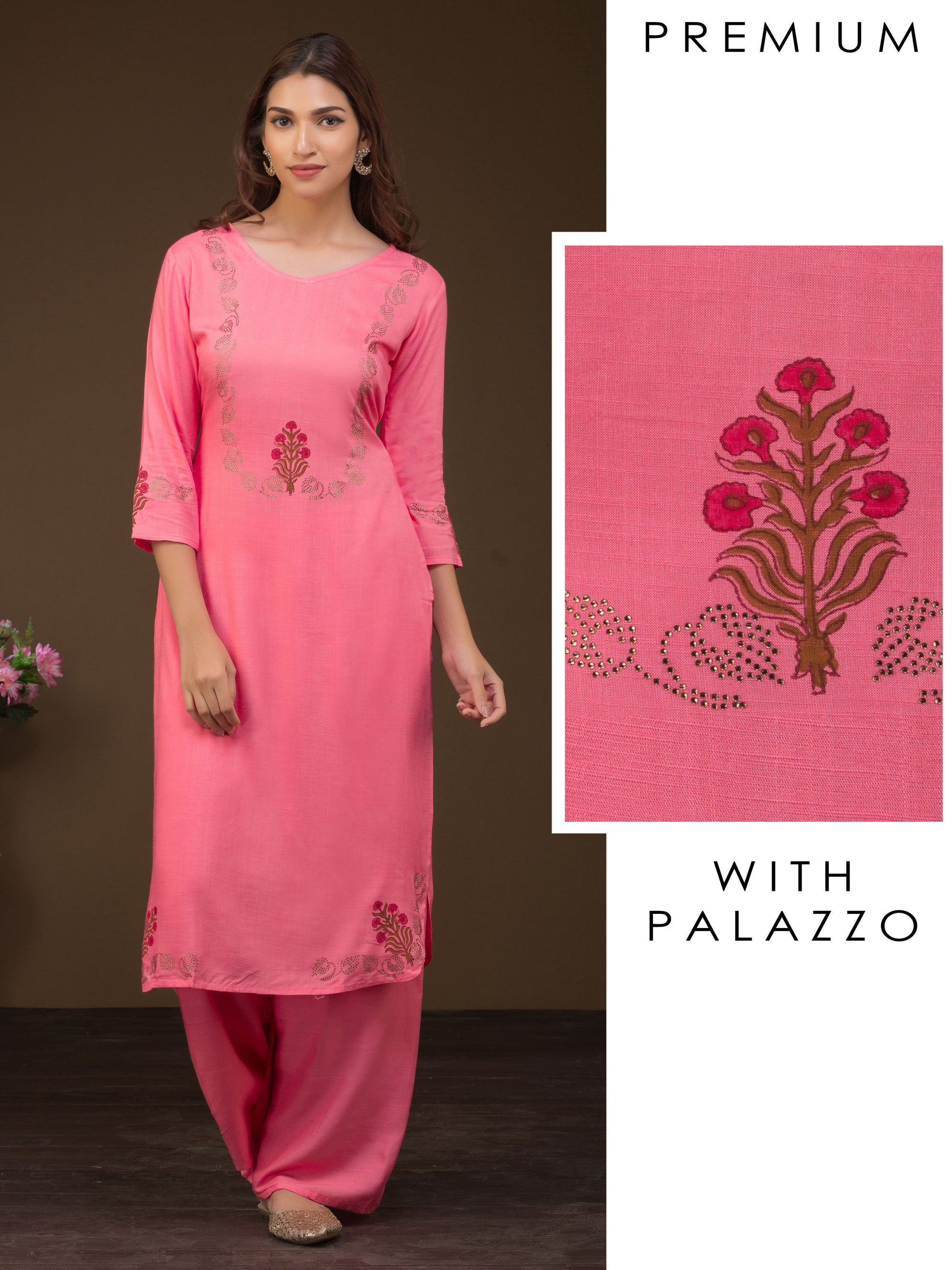 Swarovski Stones Enhanced Floral Printed Kurta- Palazzo Set