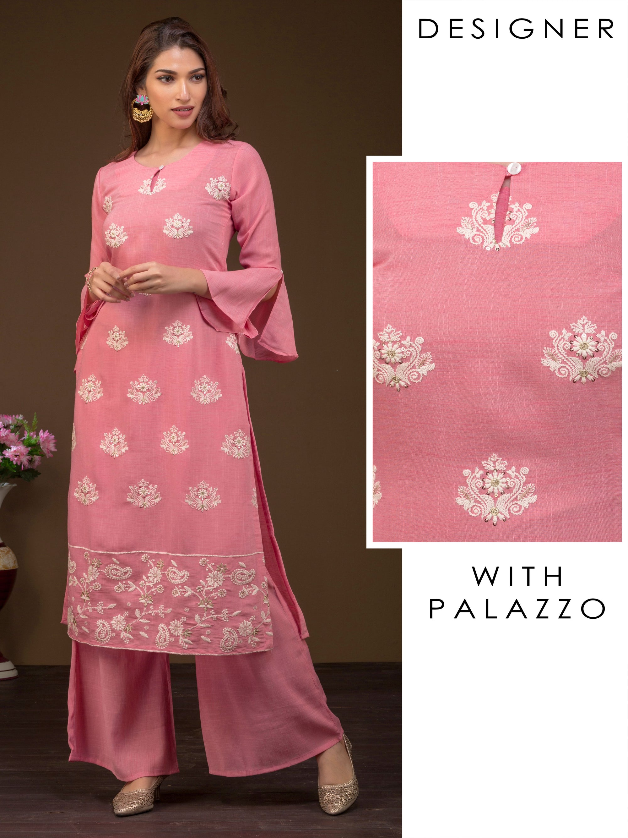 Embroidered Floral Handloom Textured And Bell Sleeves Kurta With Palazzo