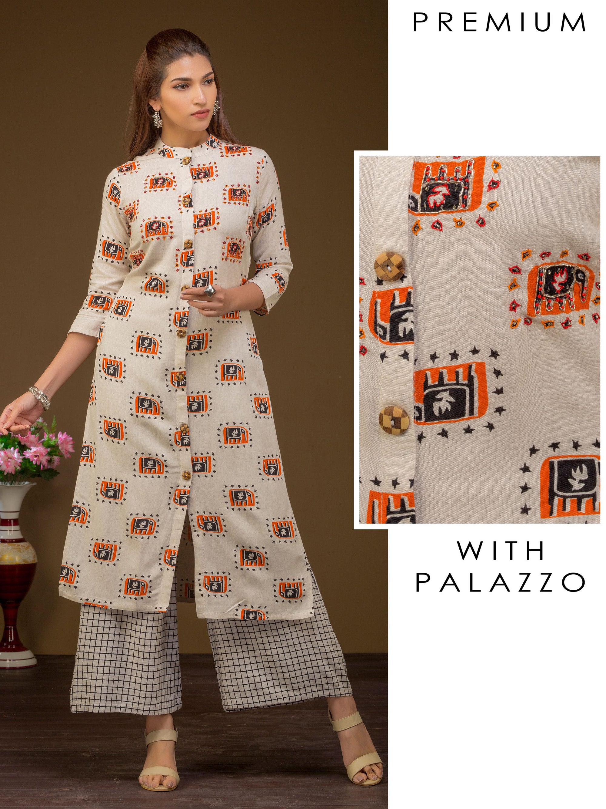 Elephant Printed Kurti & Checkered Printed Palazzo Set