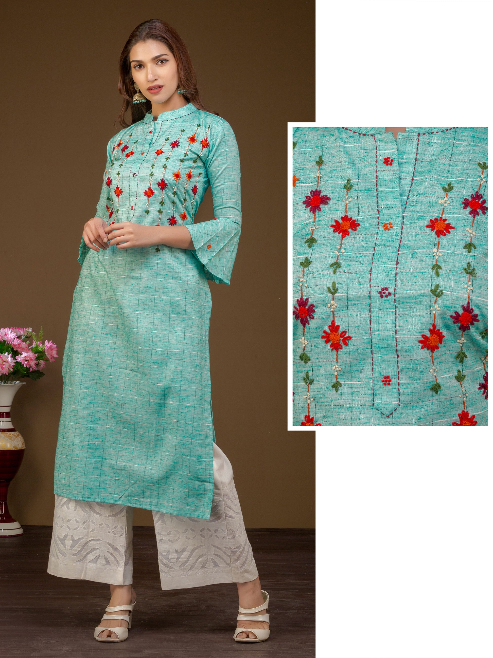 French knot Embroidered Dual Toned Kurti