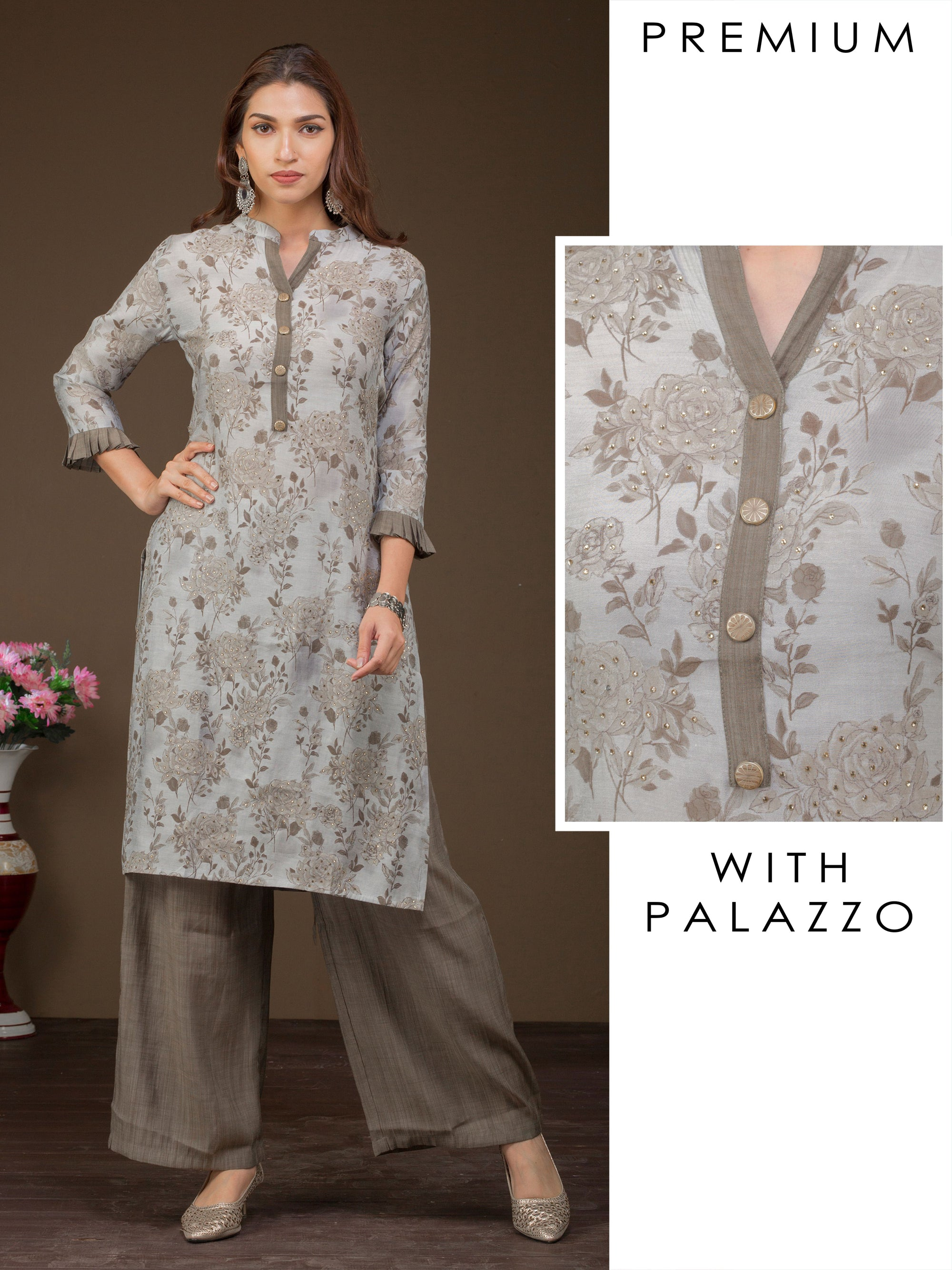 Floral Printed Kurti & Woven Striped Palazzo Set