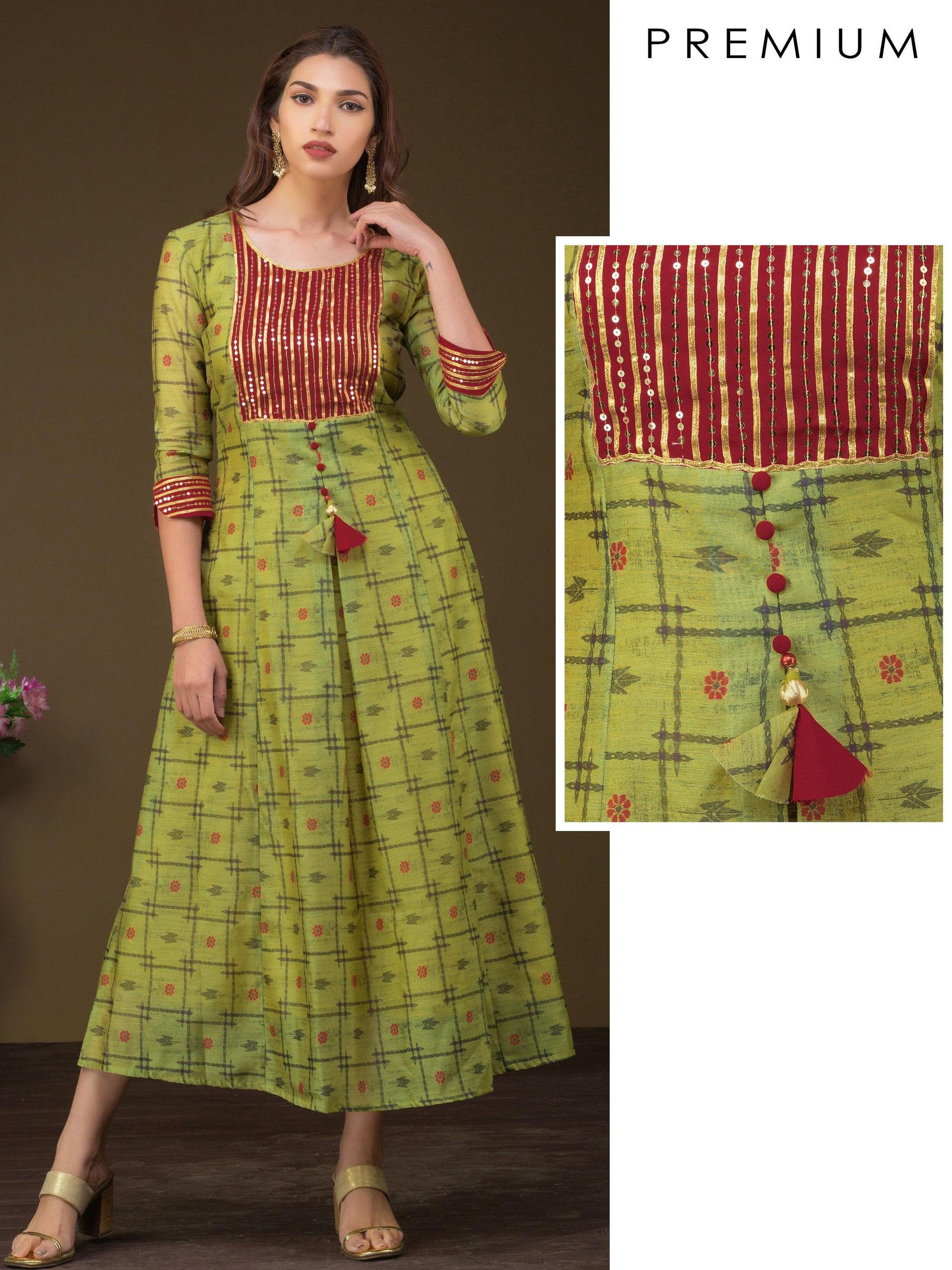 Floral Chain Print With Heavy Sequin And Gota Work Yoke Kurta - Green
