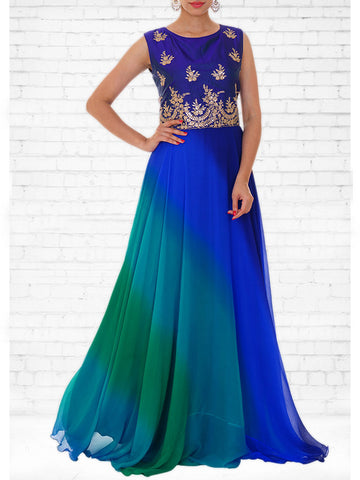 Royal Blue & Sea Green shaded Raw Silk & Chiffon Gown