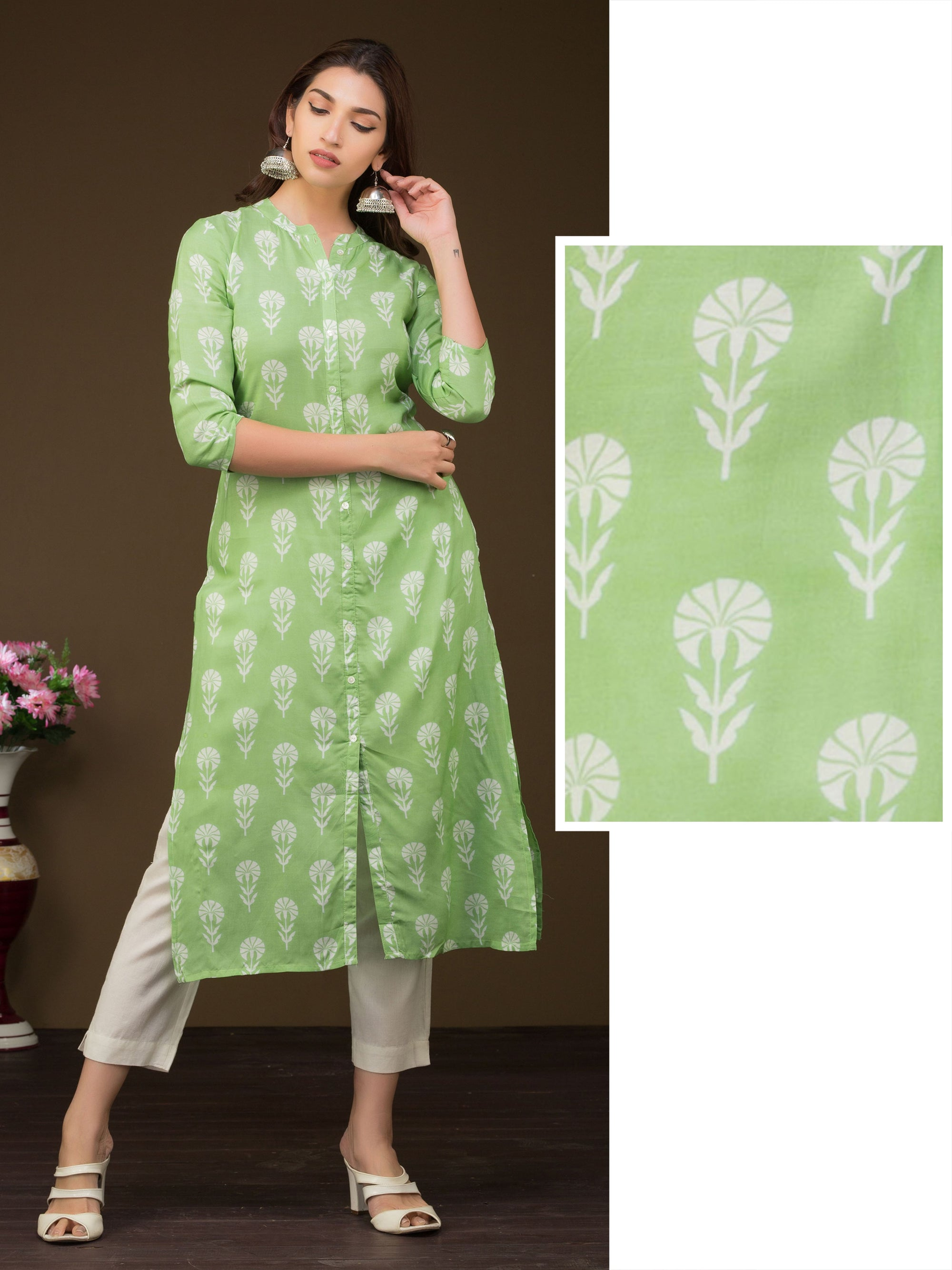 Beautiful Floral Printed Premium Muslin Kurta