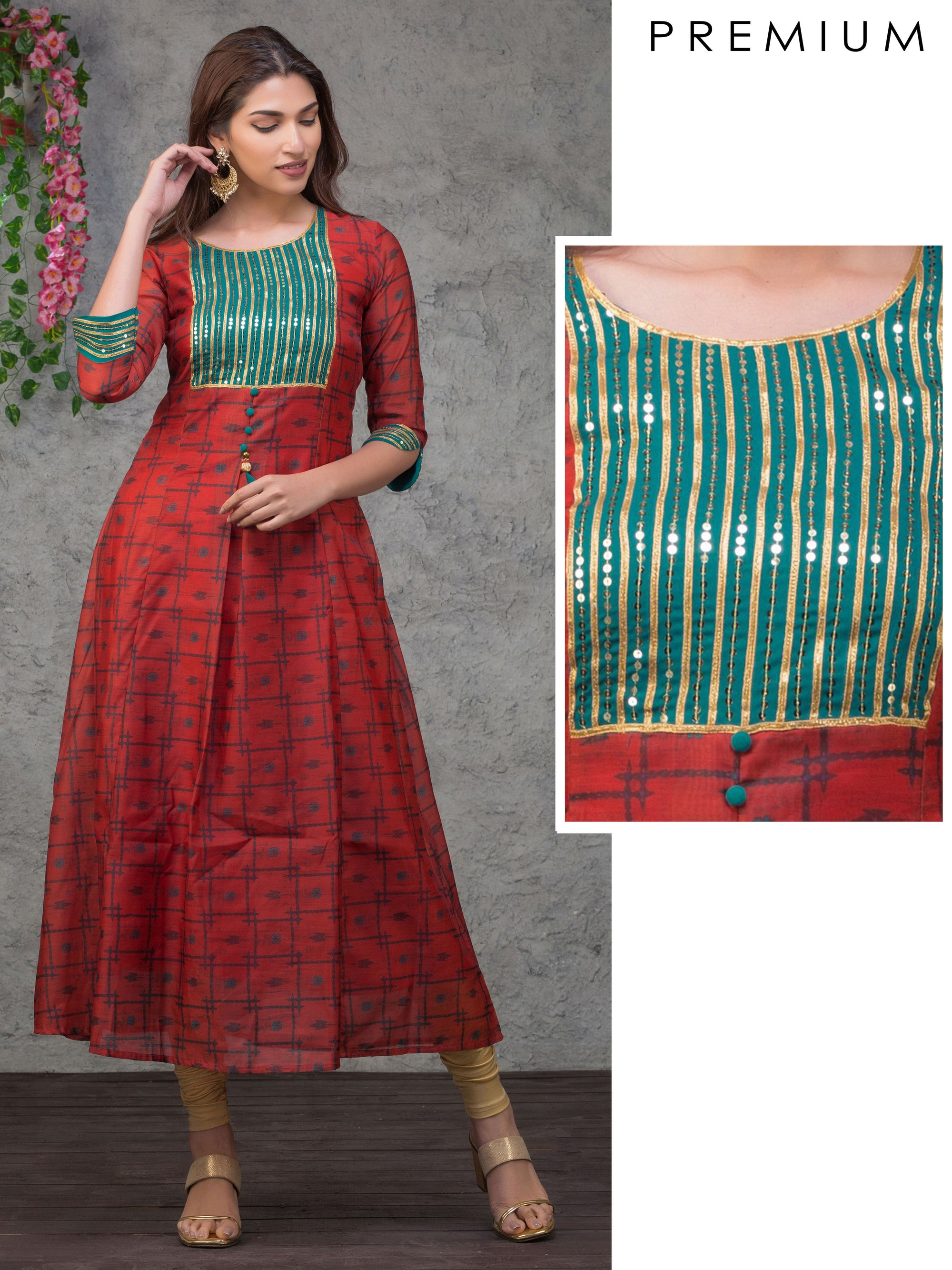 Floral Chain Print With Heavy Sequin And Gota Work Yoke Kurta - Red
