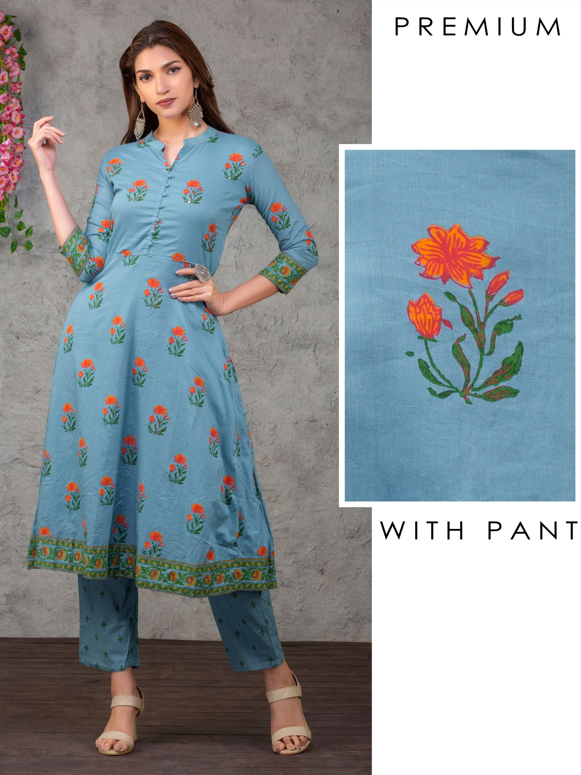 Floral Printed A-line Kurta With Pant Set