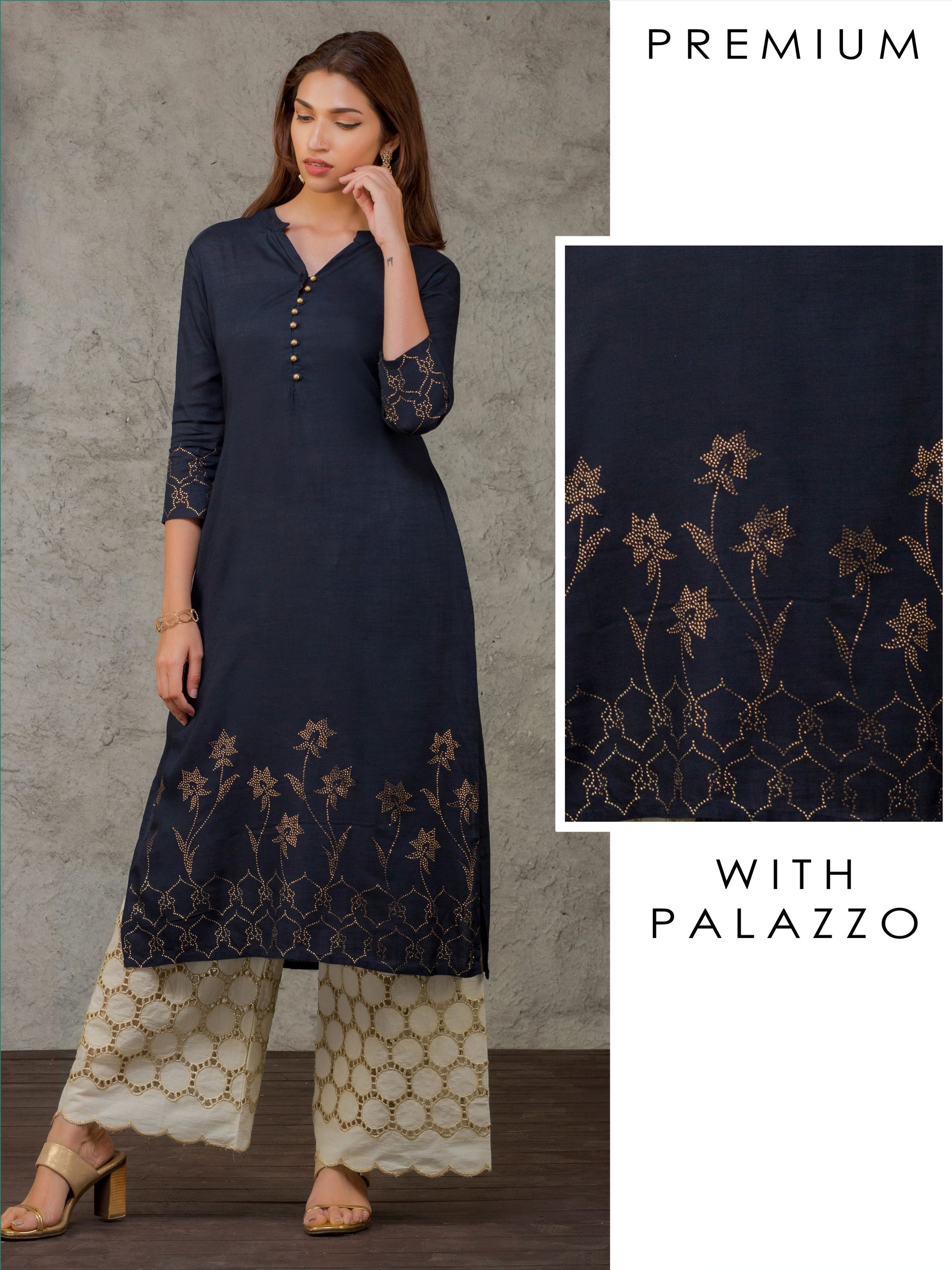 Swarovski Stone worked Kurti & Hakoba Embroidered Palazzo Set