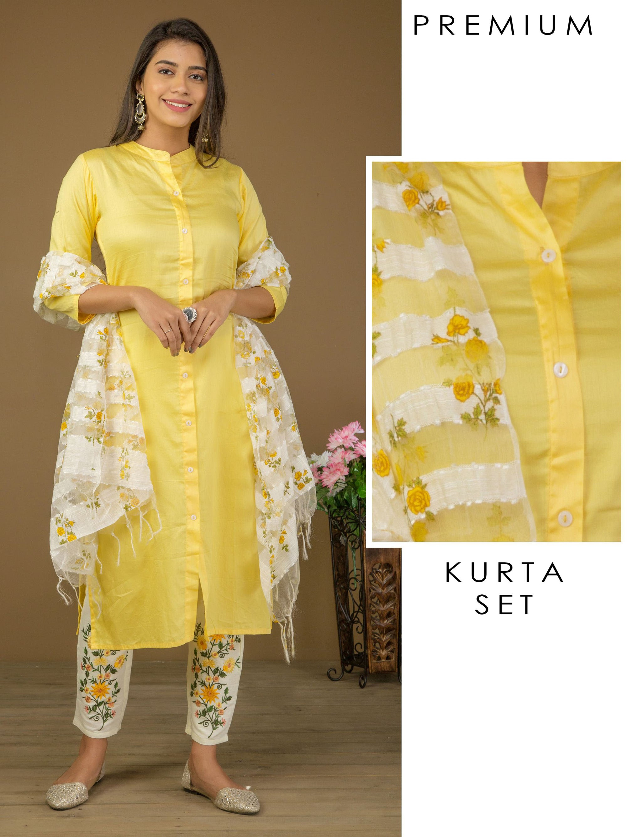 Solid Viscose Kurti, Floral Embroidered Pant & Dupatta Set - Yellow