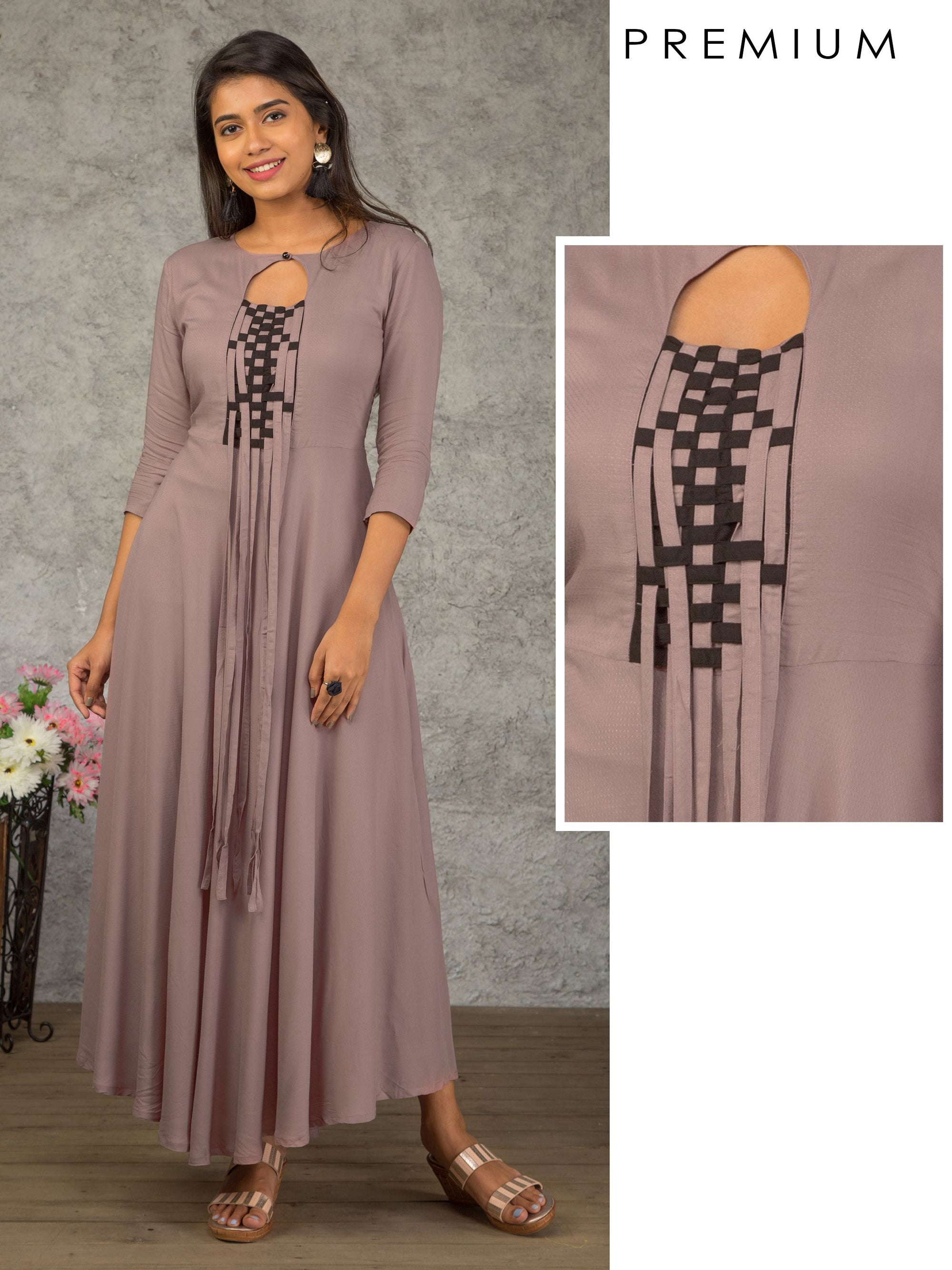 Stylish Tabs Enhanced Bias Cut Maxi