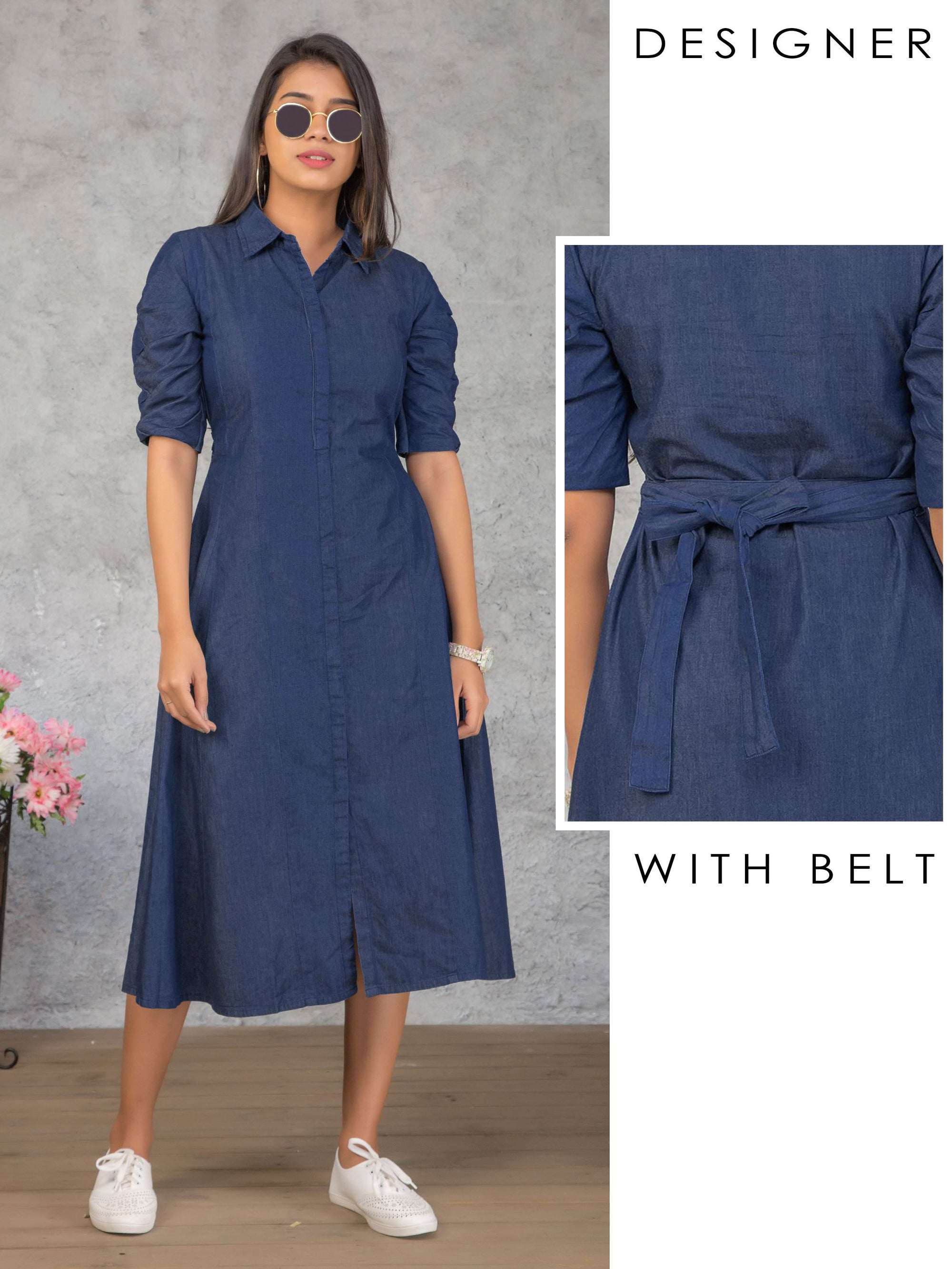 Invisible Placket Denim Paneled Maxi with Belt