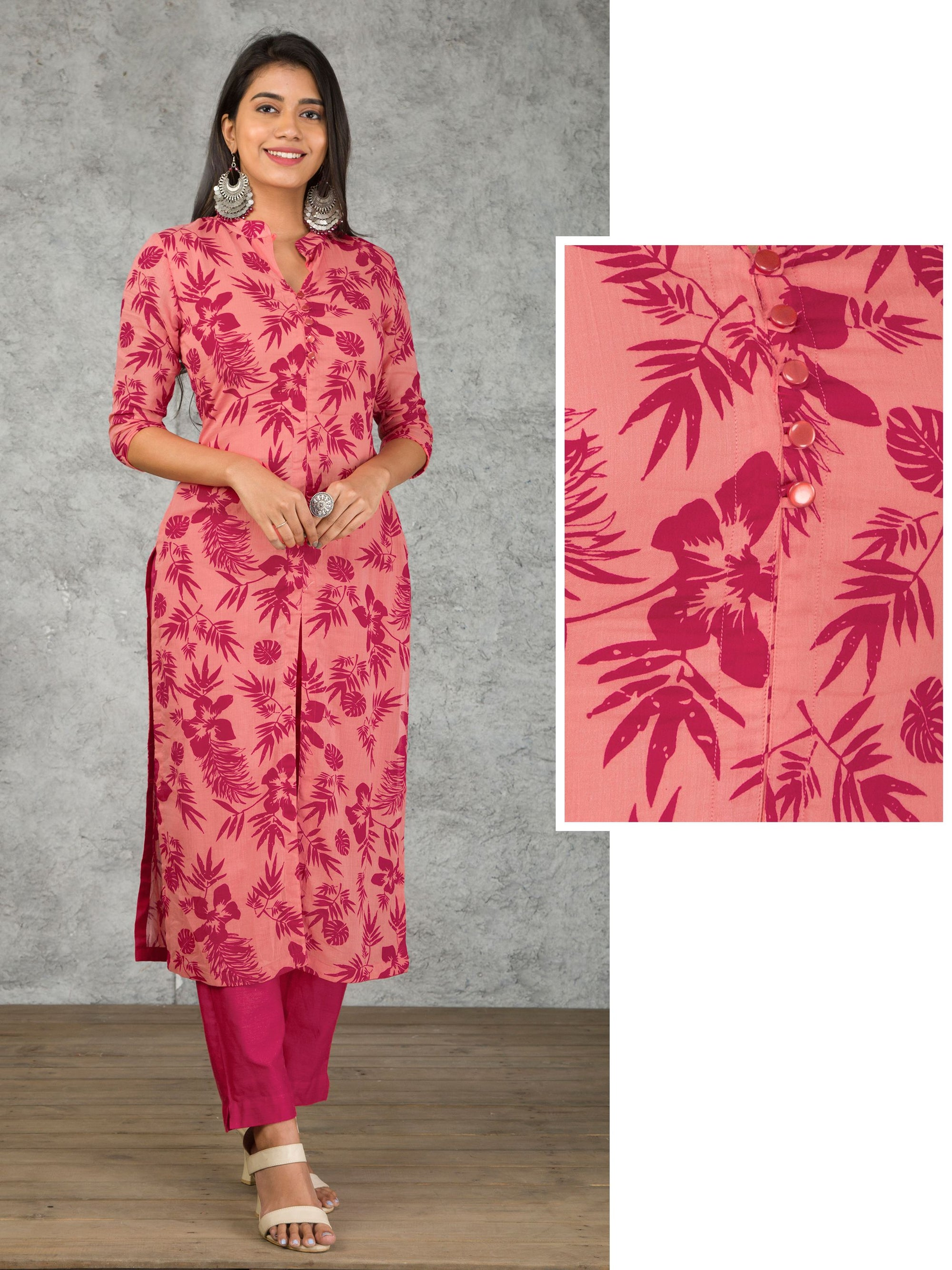 Floral Printed Crushed Cotton Kurti