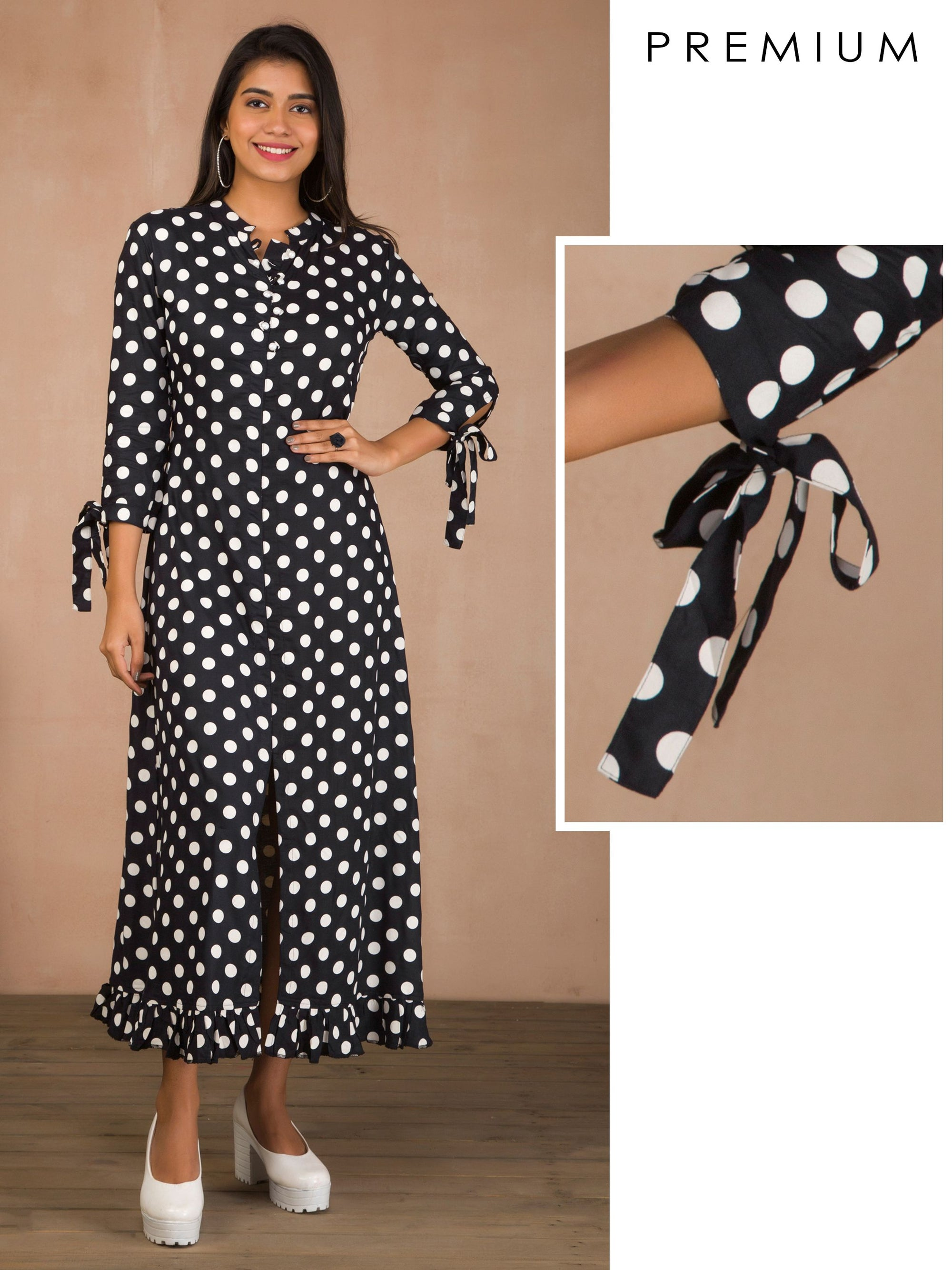Polka Dotted Pearl Buttoned Maxi