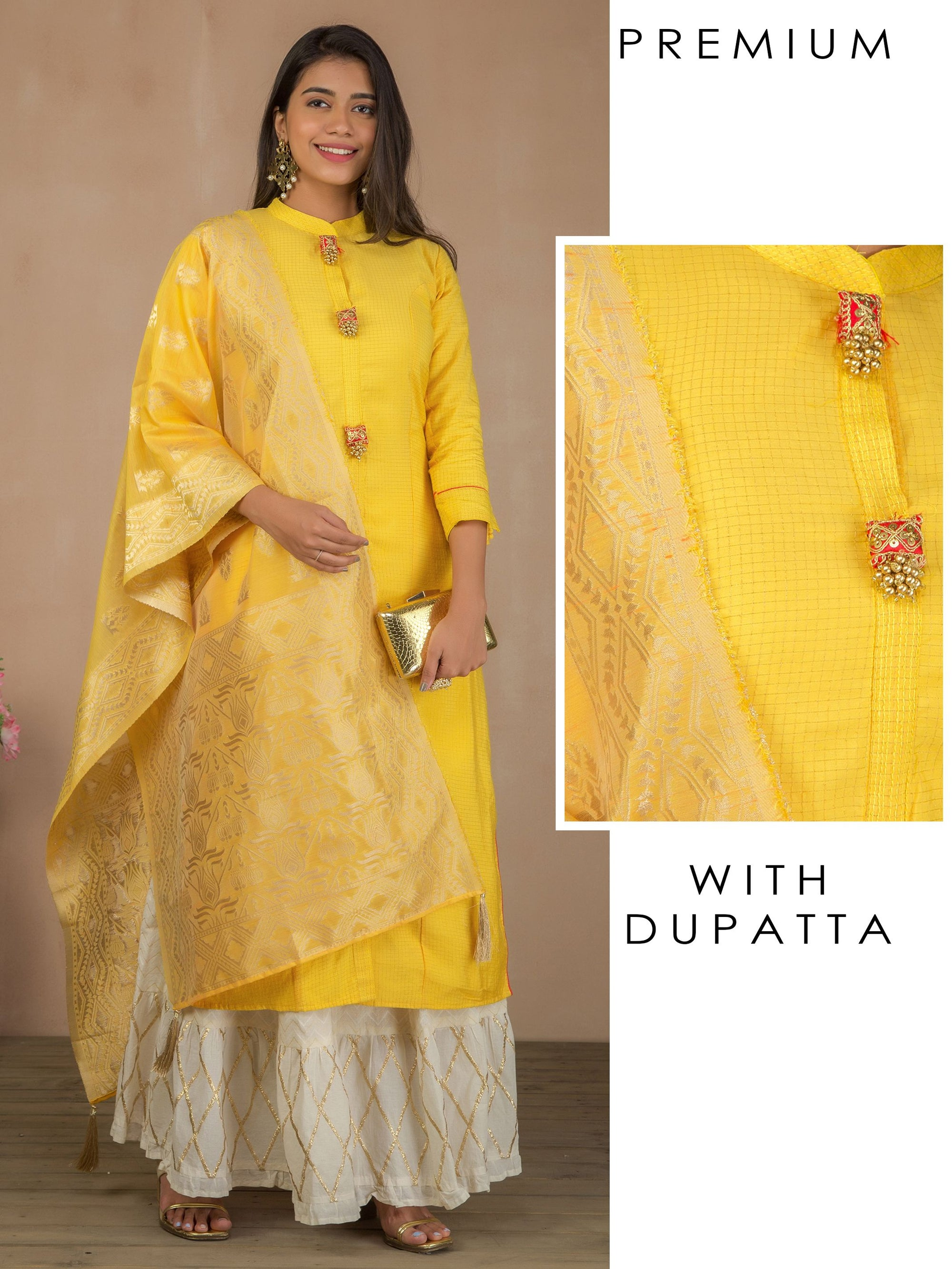 Sequins & Pin Checkered Kurti with Brocade Dupatta - Yellow