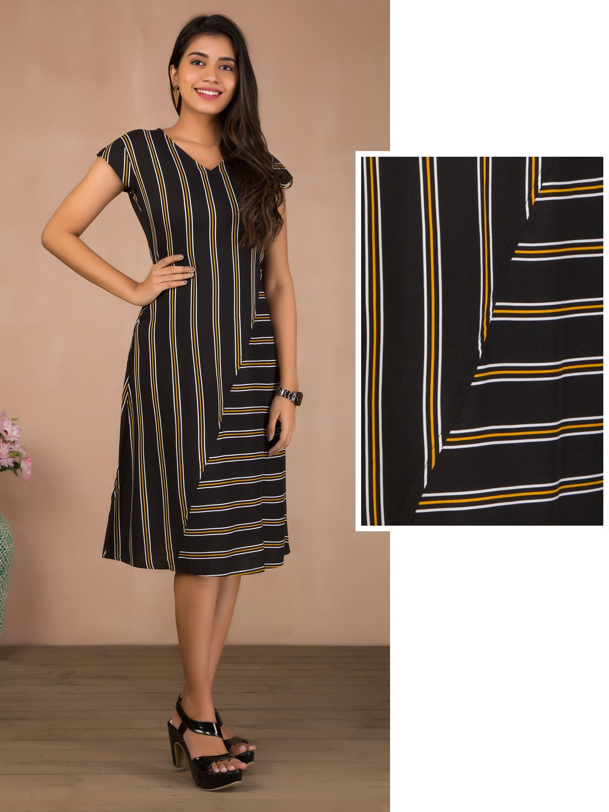 Vertical Striped A-Line Maxi