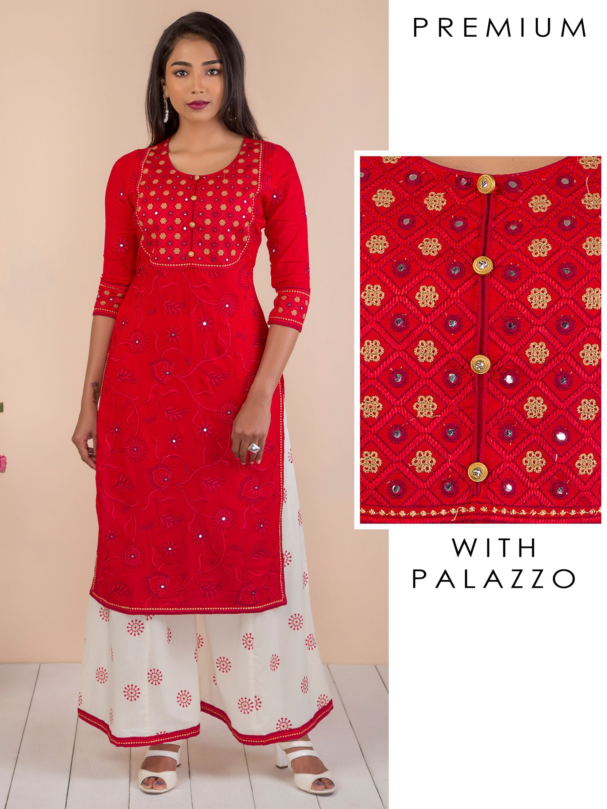 Floral Self Embroidered Kurti & Flared Palazzo Set - Scarlet Red