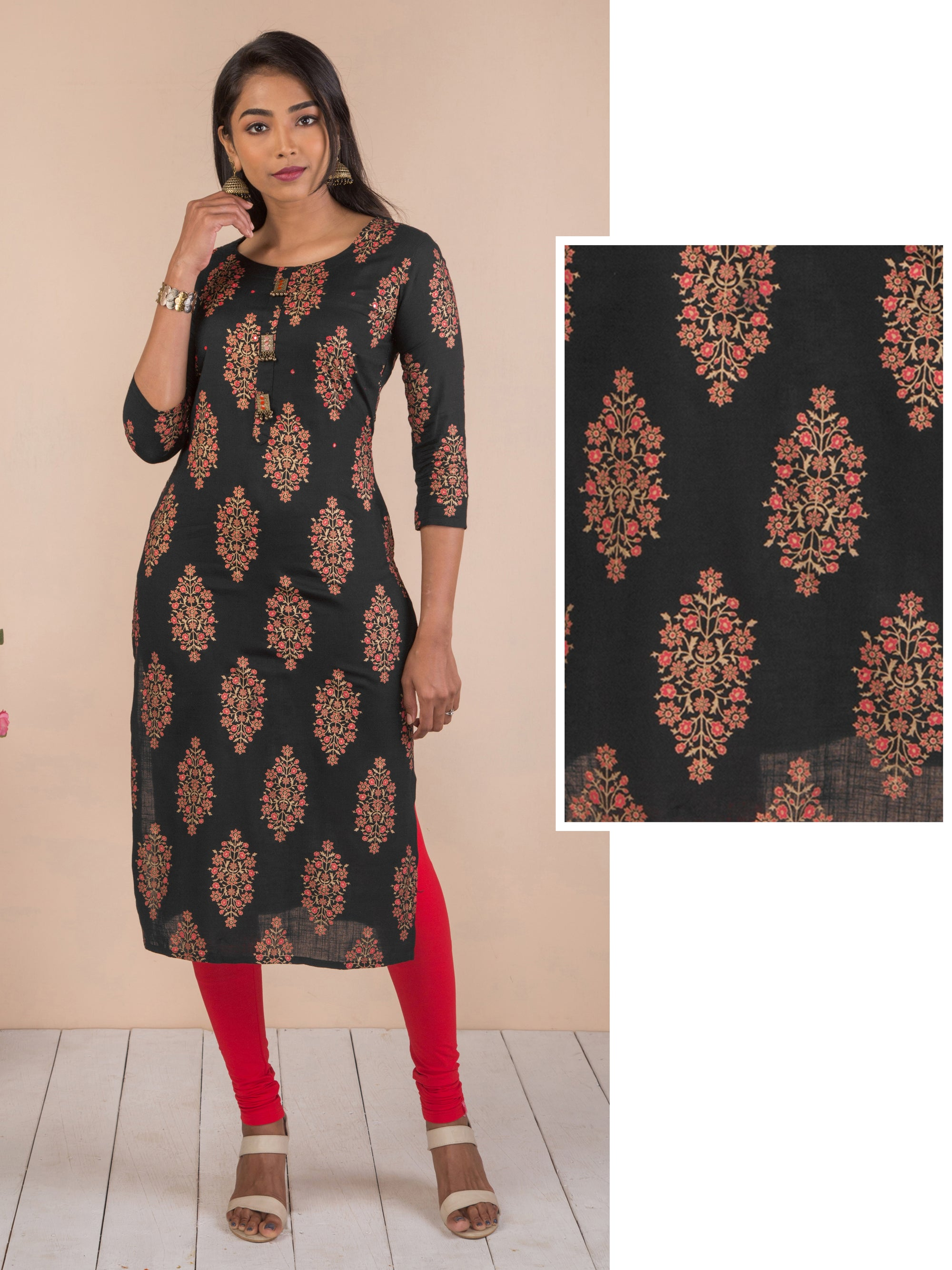 Floral Print With Gold Highlights And Foil Mirror Work Kurta - Black