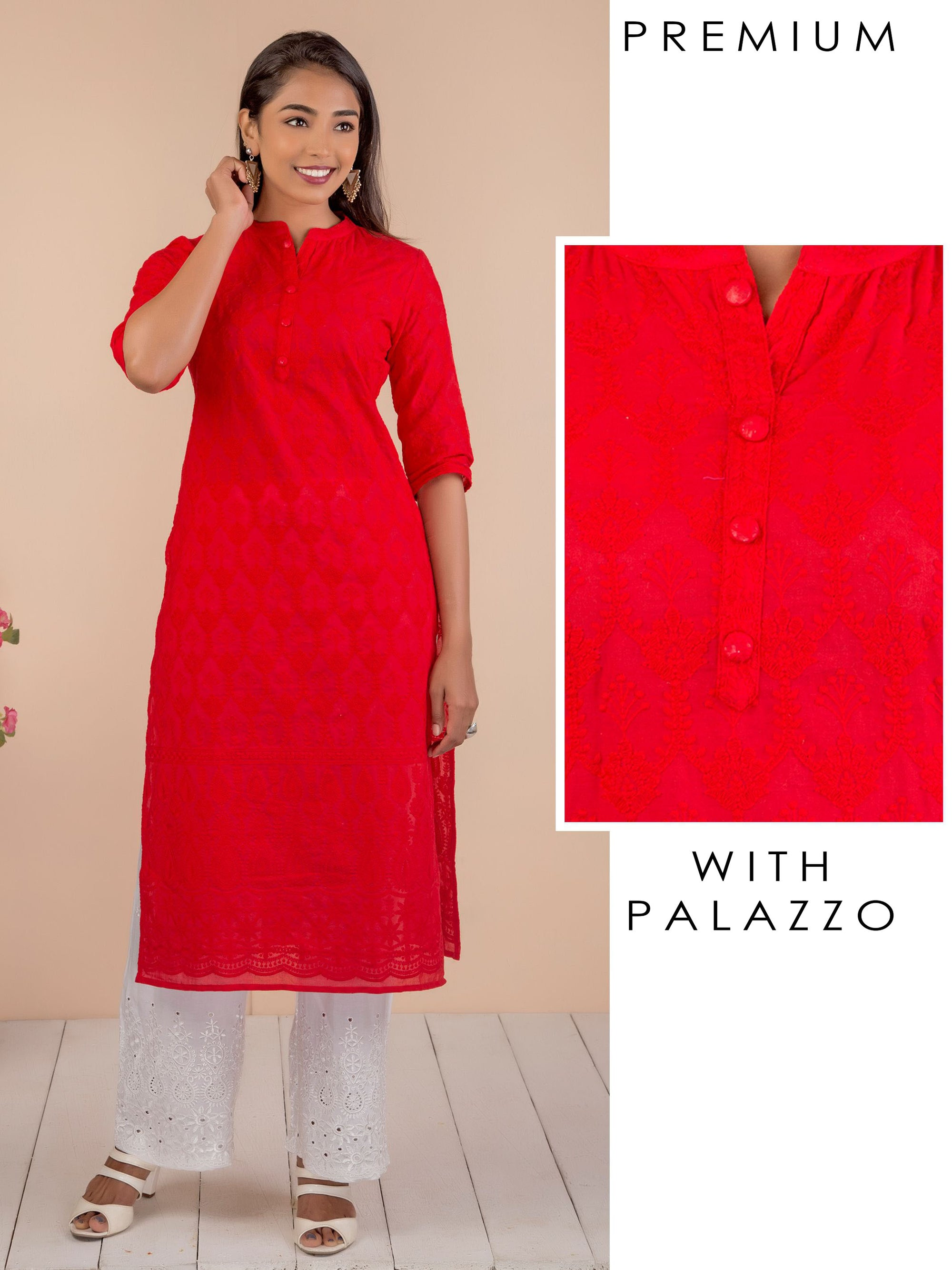 Chikankari Self Embroidered Kurti & Schiffli Palazzo Set – Scarlet Red