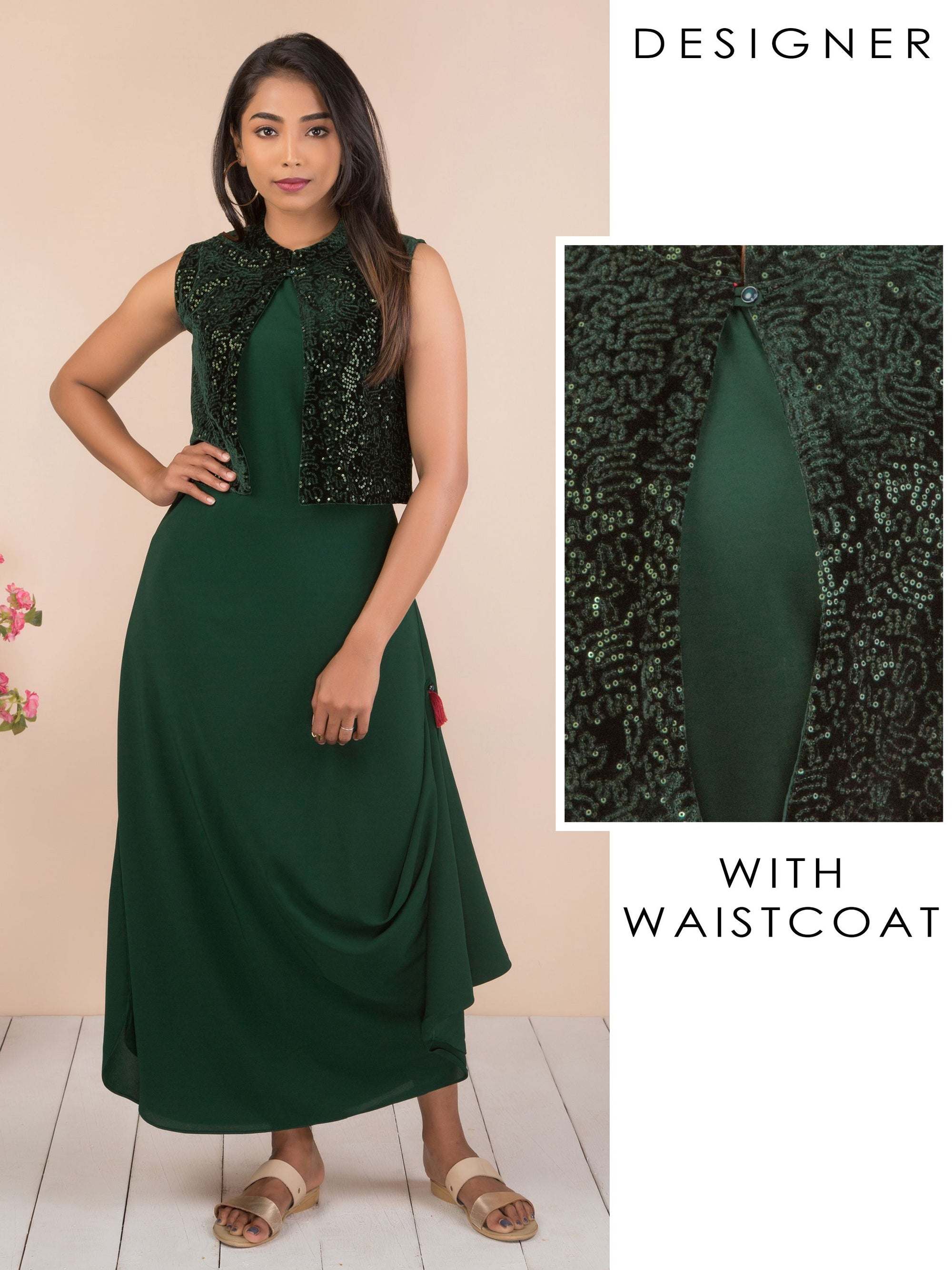 Solid Cowl Maxi with Sequins Waistcoat - Bottle Green