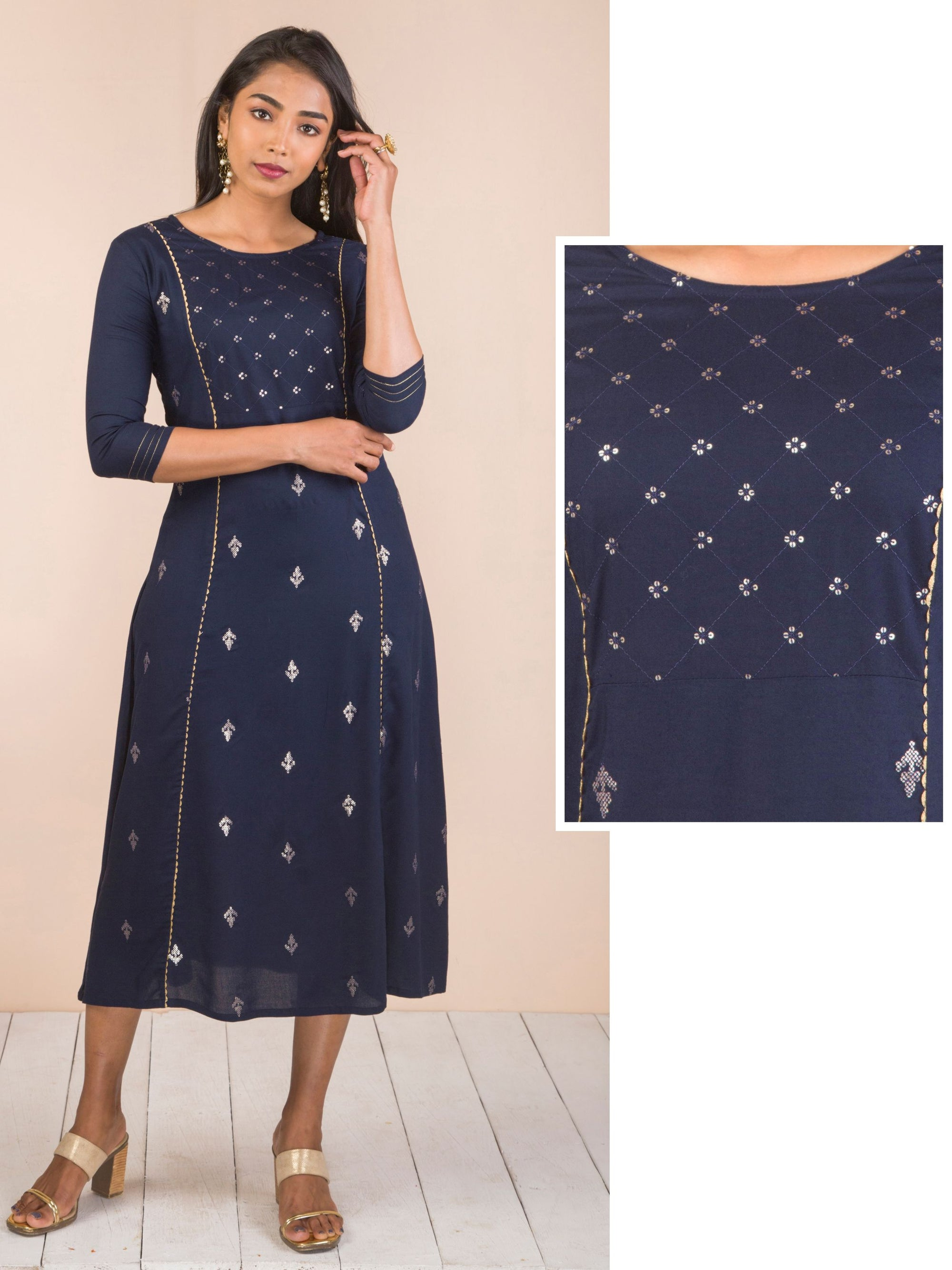 Sequins Detailed Rayon Maxi - Navy Blue