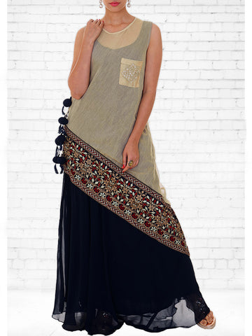 Resham & Zari Embroidered Layered Chanderi & Georgette Kurti