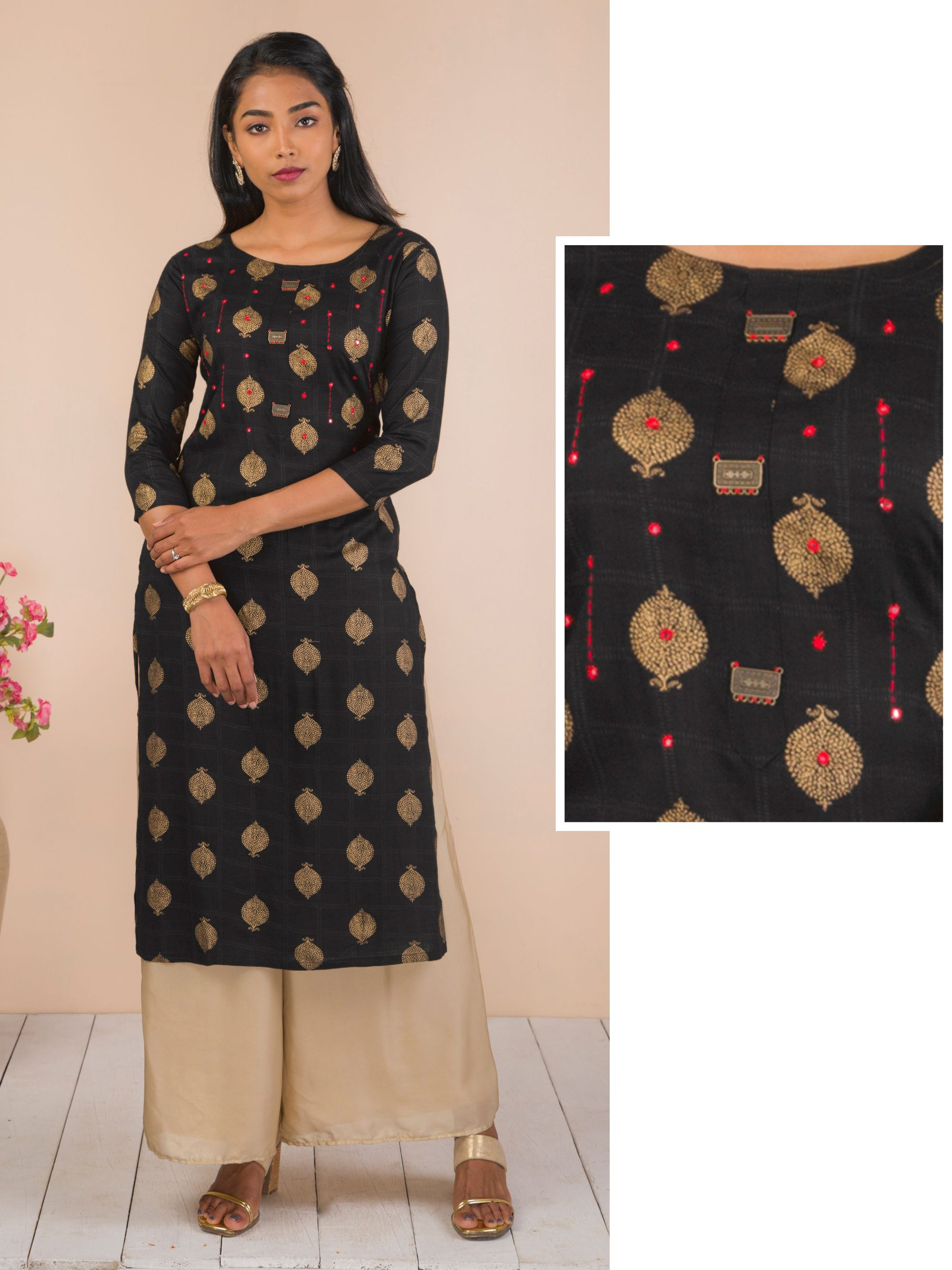 Antique Metal Brooches Enhanced Cotton Kurti