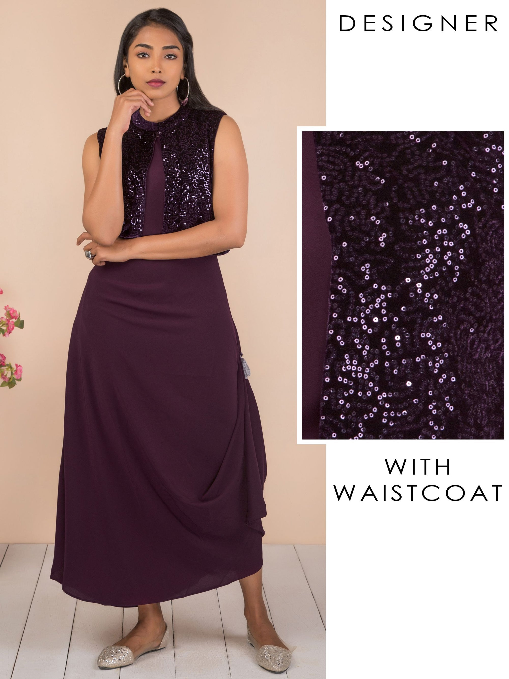 Solid Cowl Maxi with Sequins Waistcoat - Purple