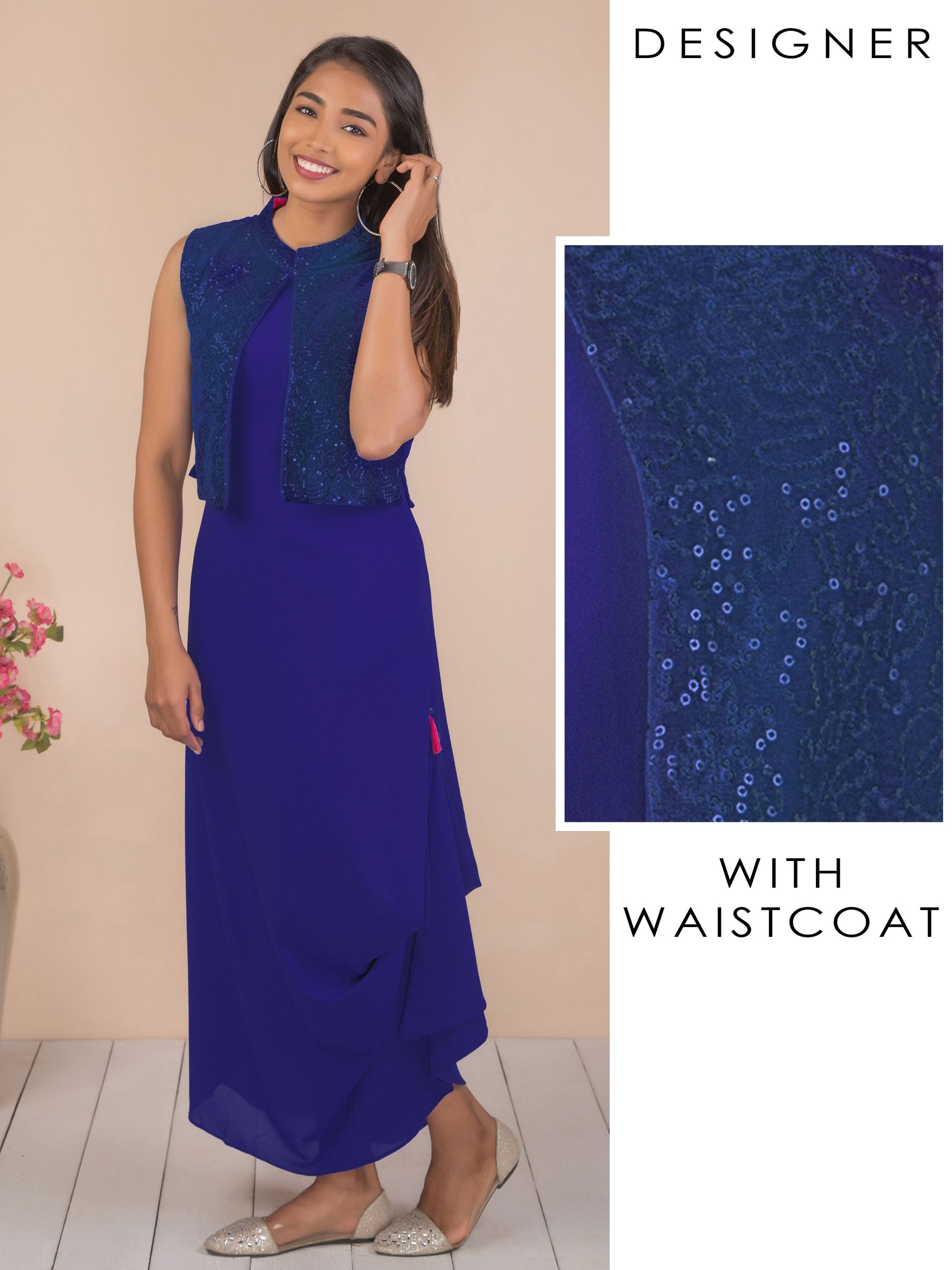 Solid Cowl Maxi with Sequins Waistcoat - Royal Blue