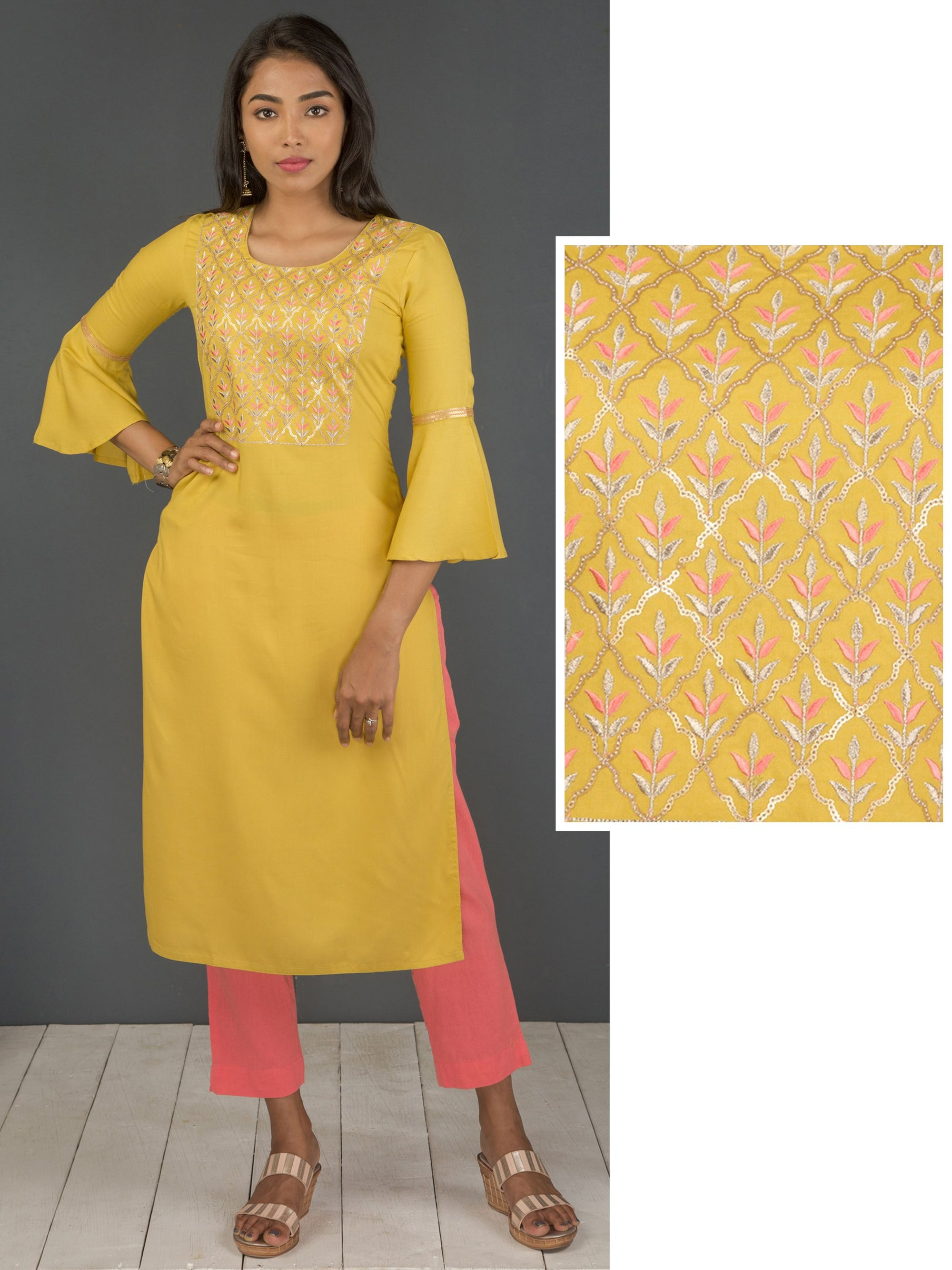 Satin And Zari Stitched Floral Embroidered Sequin Kurta With Bell Sleeves