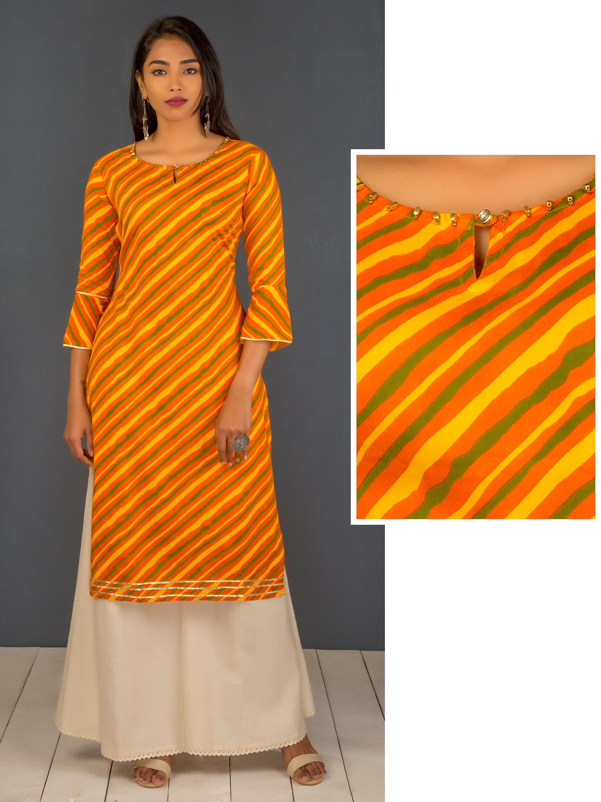 Regimental Stripes With Gota Lace Kurti - Orange