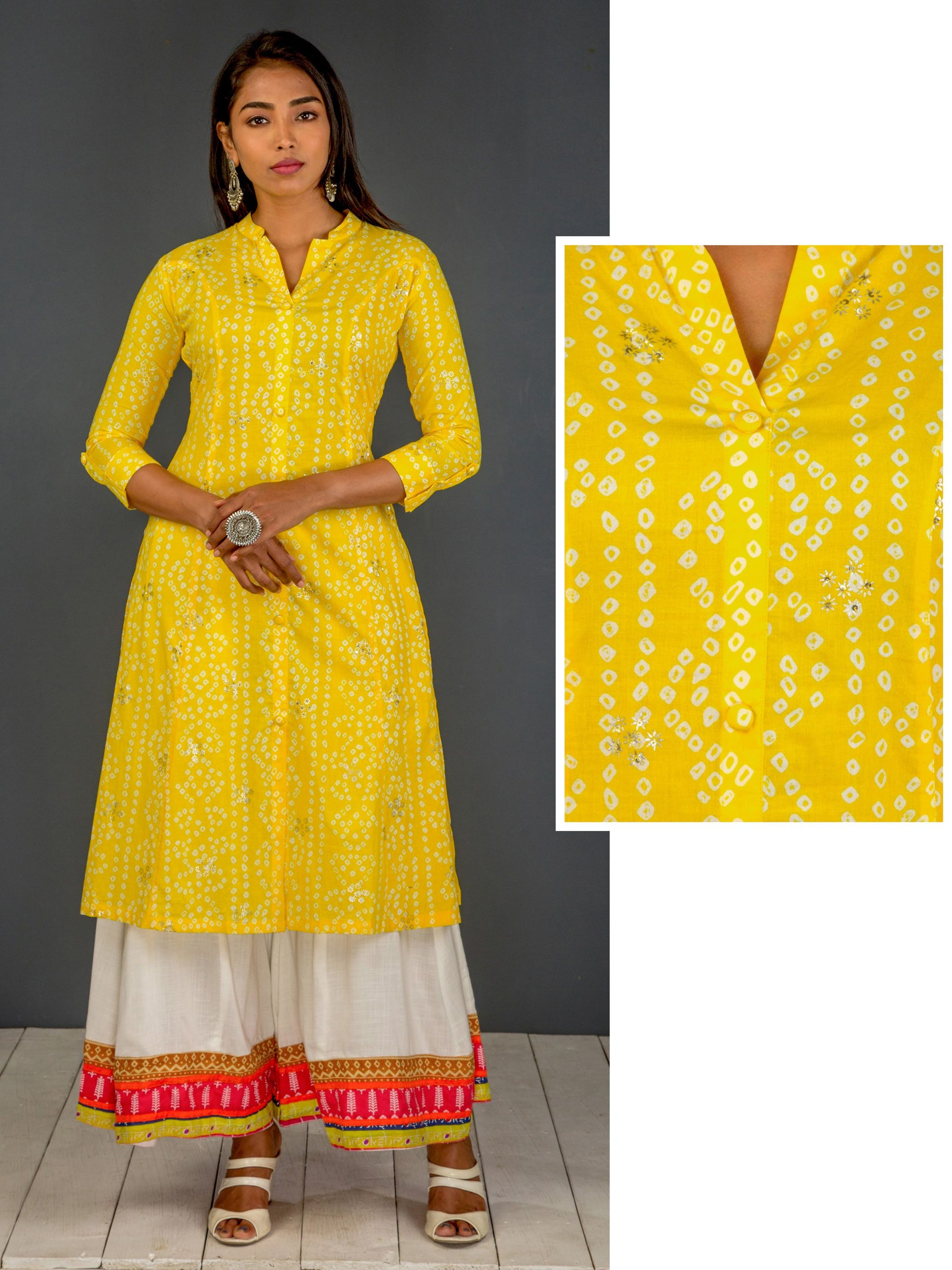 Bandhani Printed Kurta With Silver Highlights